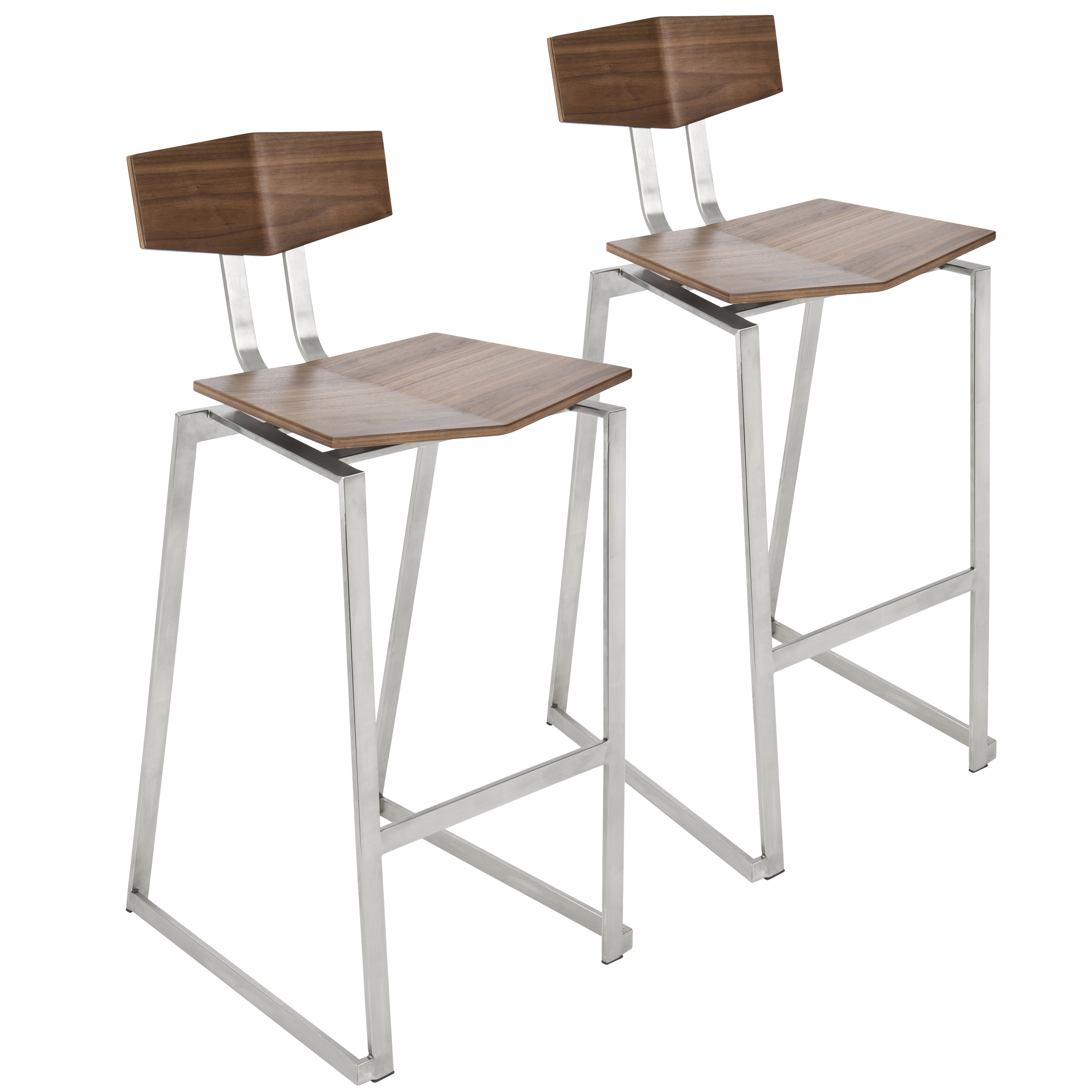 Modern Wood Counter Stool Lumisource Flight Contemporary Stainless Steel Counter