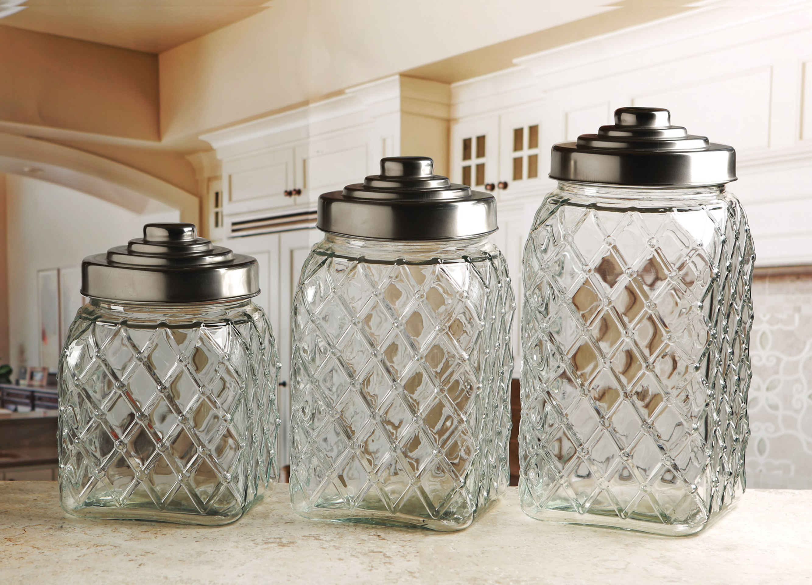 Kitchen Set Name Circleware 3 Pc Embossed Canister Set