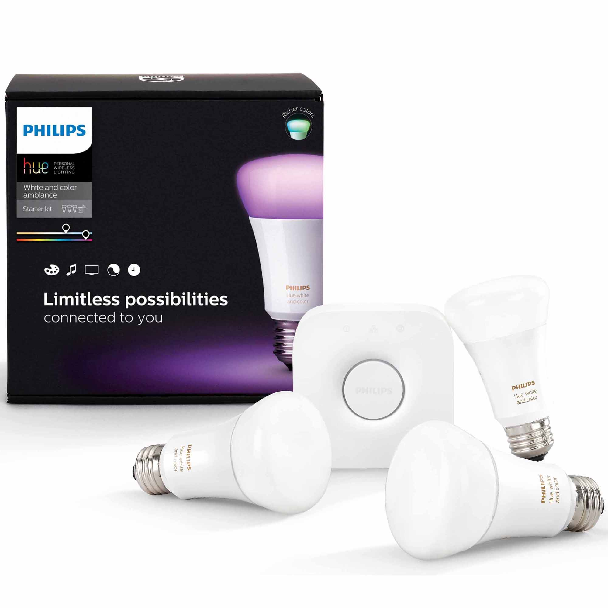 Philips Hue E27 Color Starter Kit - Richer Colors Philips Hue White And Color Ambiance Starter A19 Kit - 3rd Generation With Richer Colors | Shop