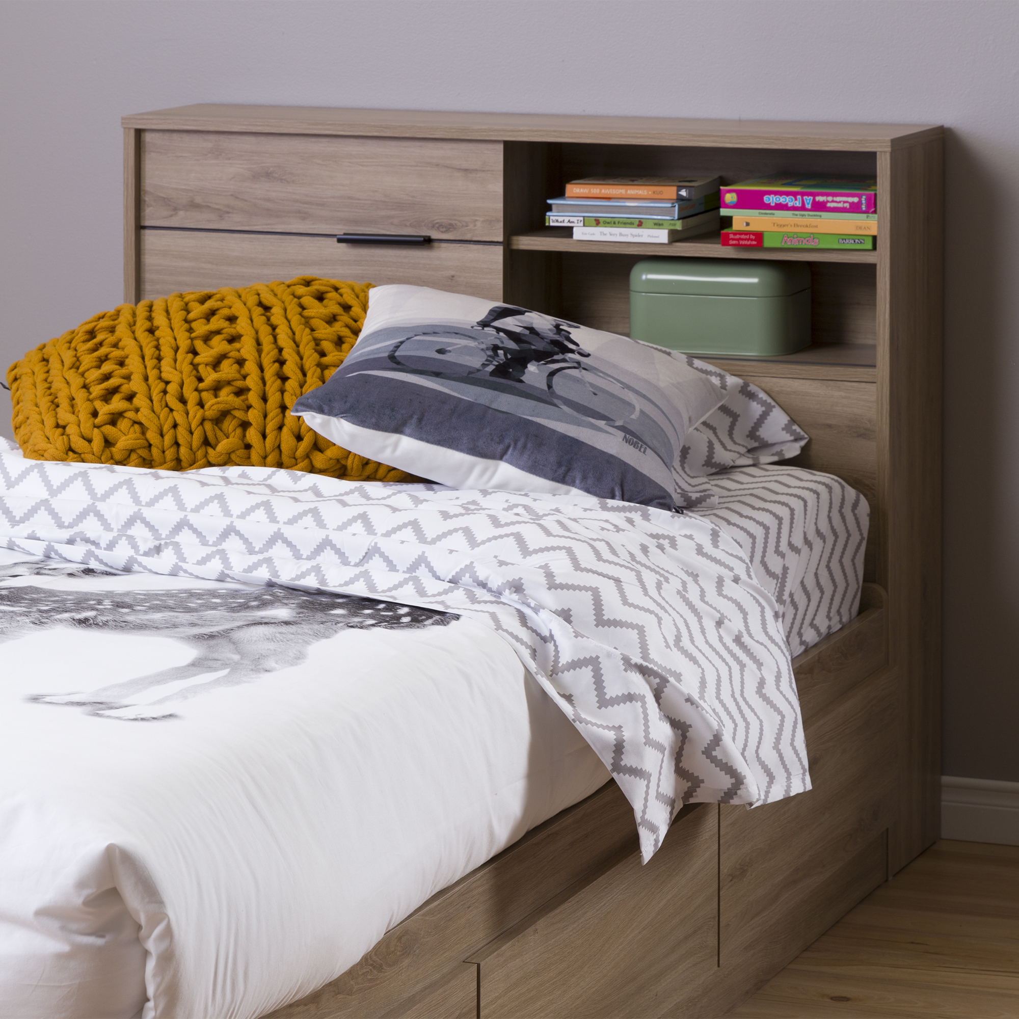 South Shore Fynn Twin Headboard With Storage 39quot Rustic
