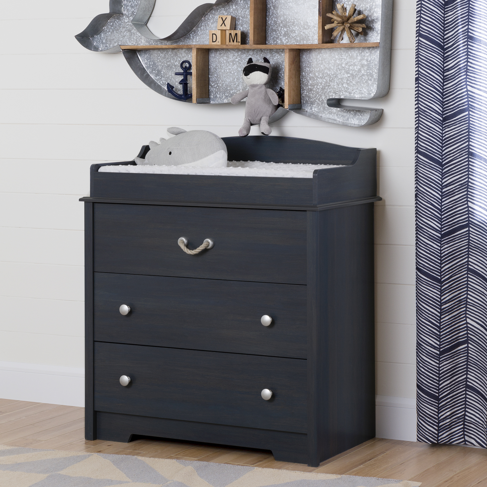 Changing Table Chest Of Drawers South Shore South Shore Aviron Changing Table With Drawers Blueberry