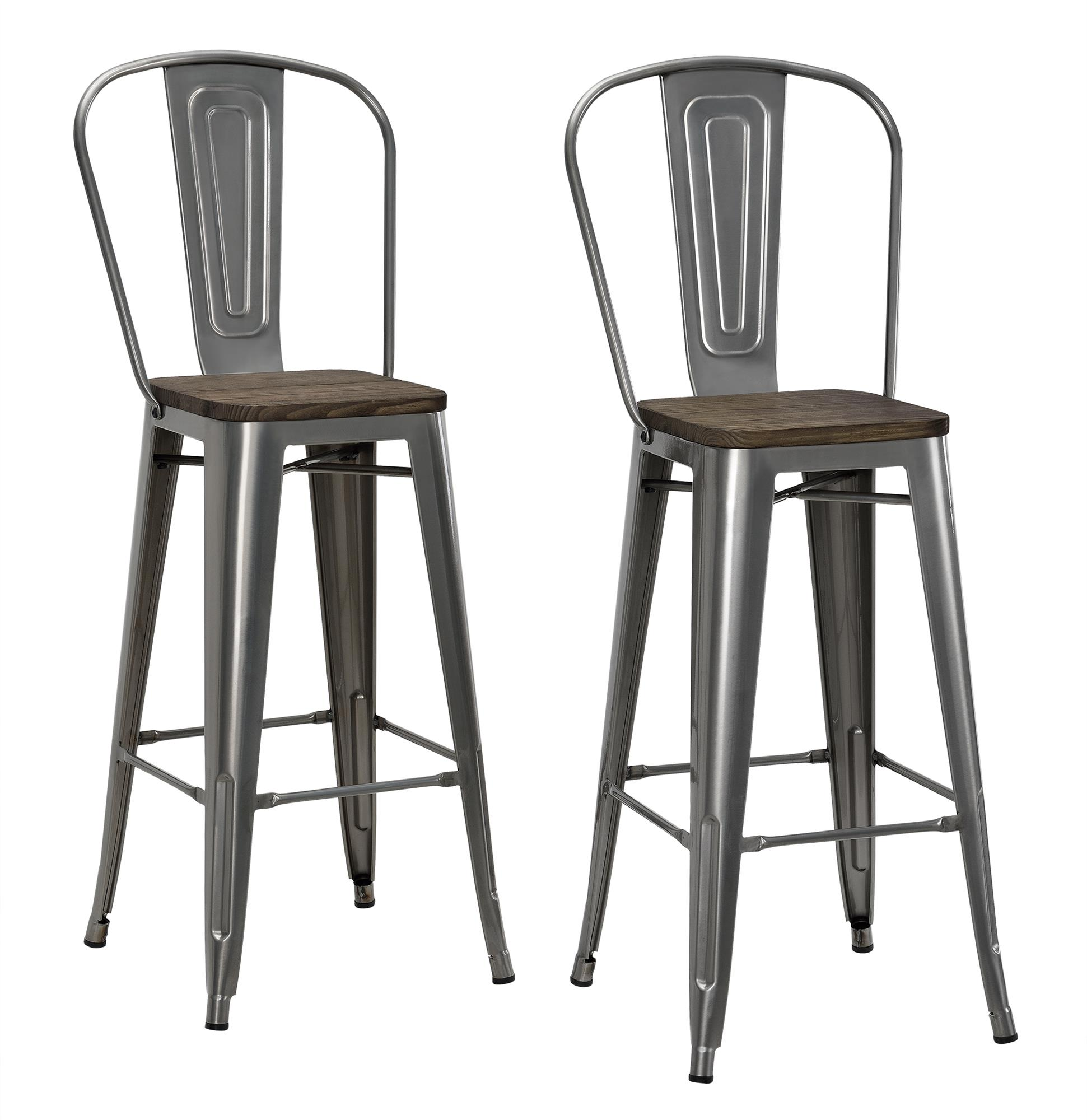 Wood And Metal Bar Stools Dorel Luxor Gun Metal 30 Quot Metal Bar Stool With Wood Seat