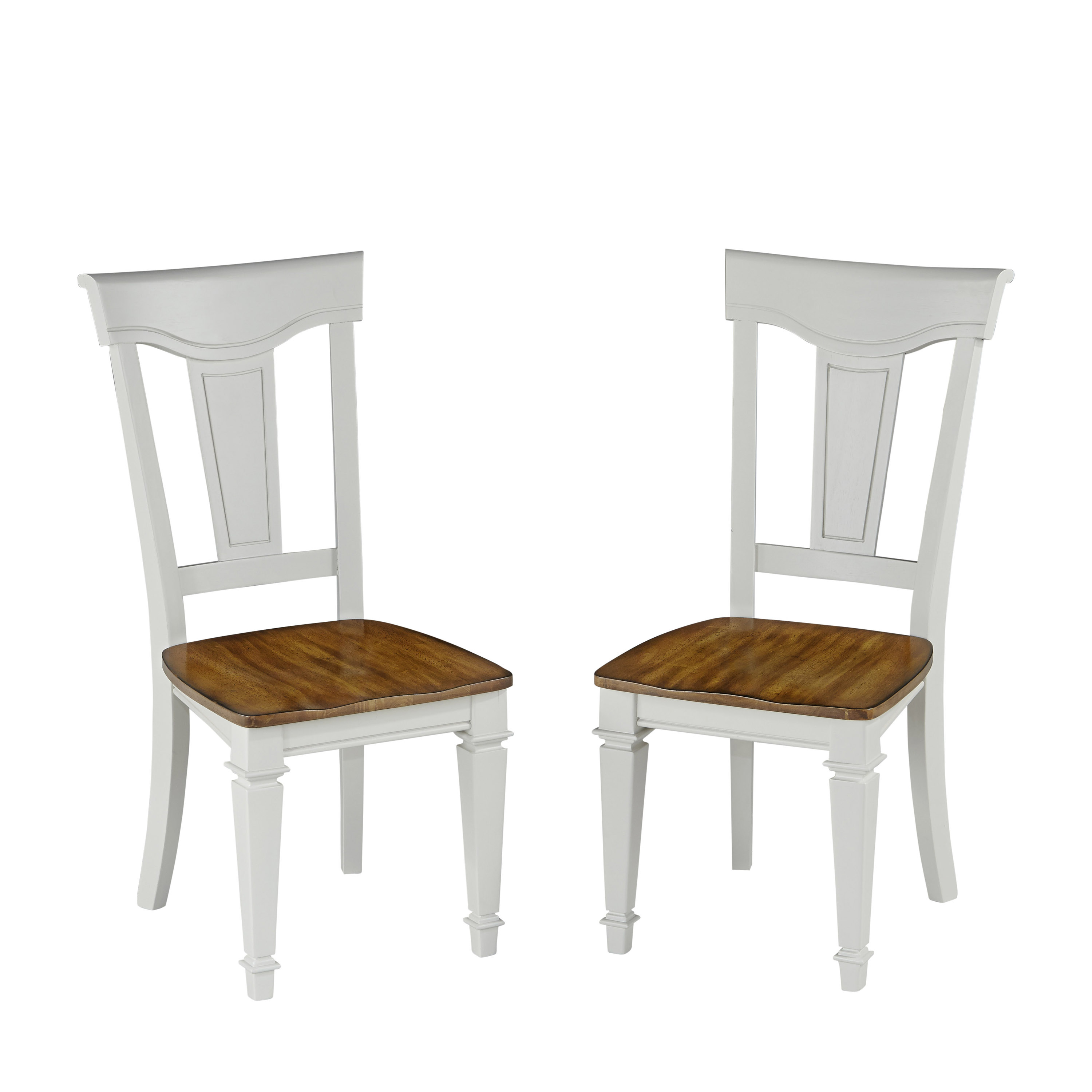 Home Styles White and Oak Americana Dining Chair Pair