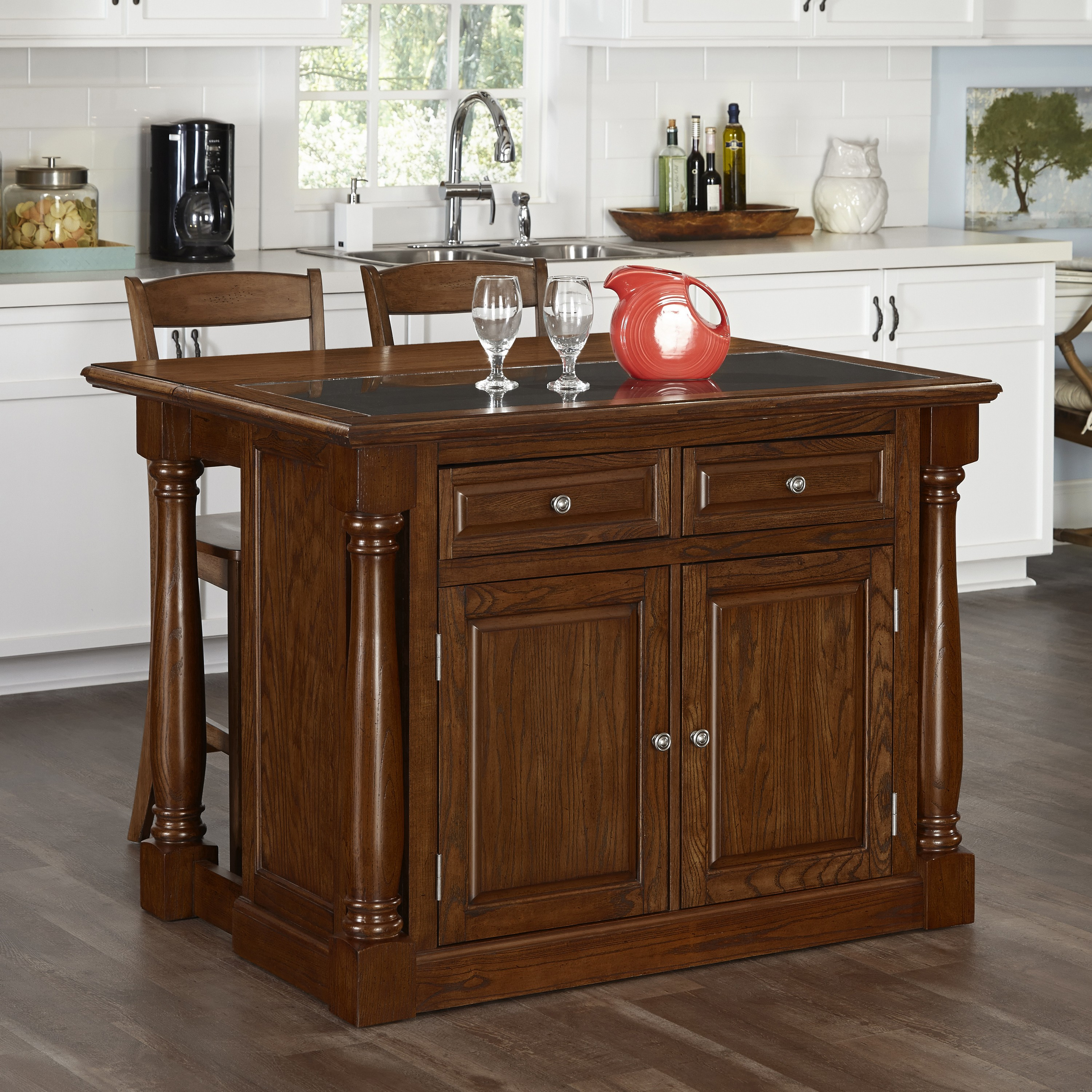 Stools Kitchen Islands Home Styles Monarch Oak Kitchen Island And Two Stools