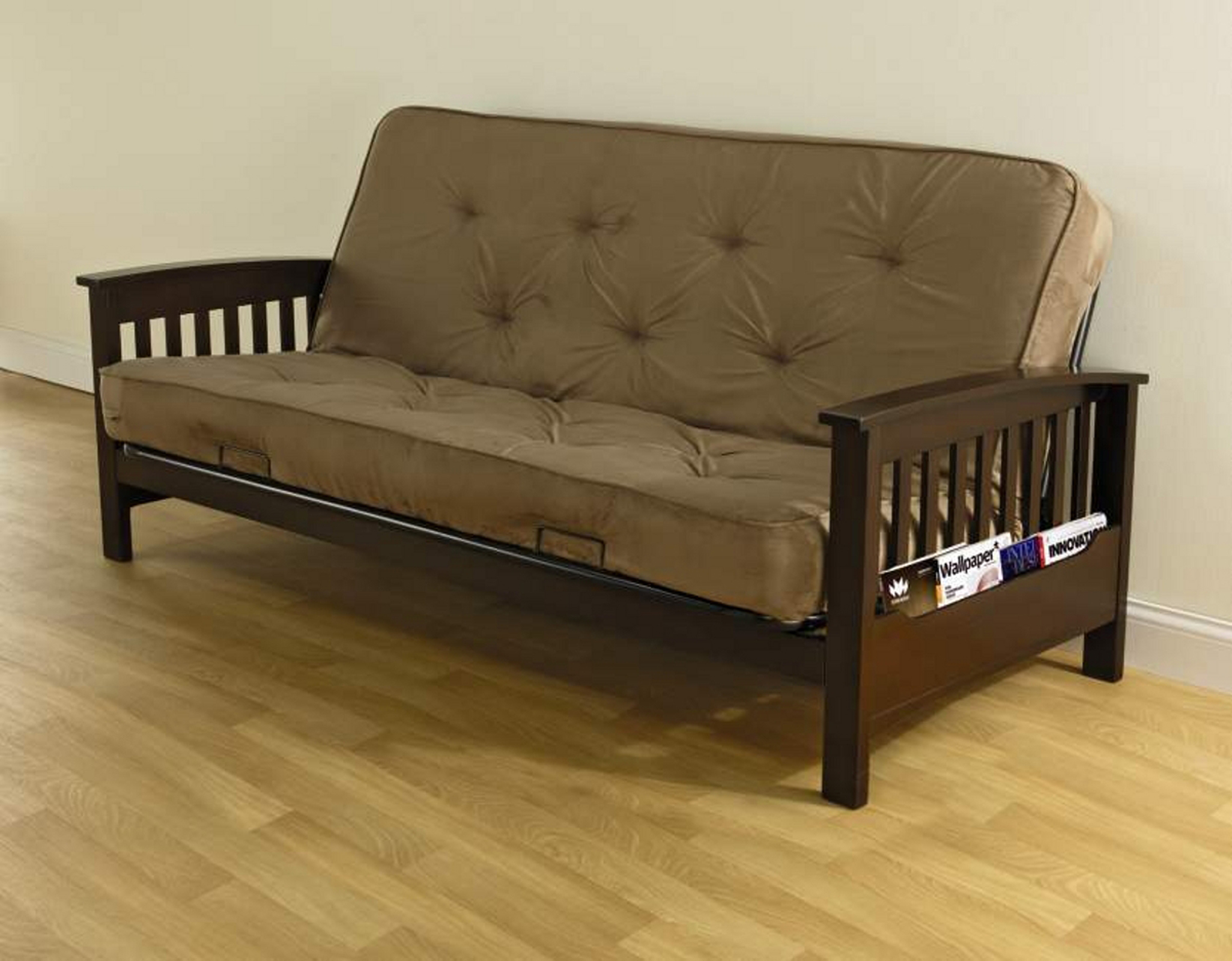 Bz Futon Essential Home Heritage Futon With Magazine Rack Tan