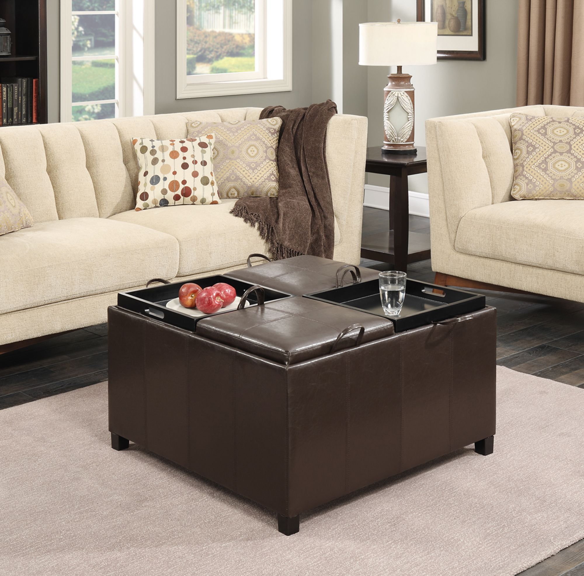 Coffee Table Ottomans Underneath Convenience Concepts Times Square Ottoman W 4 Tray Tops