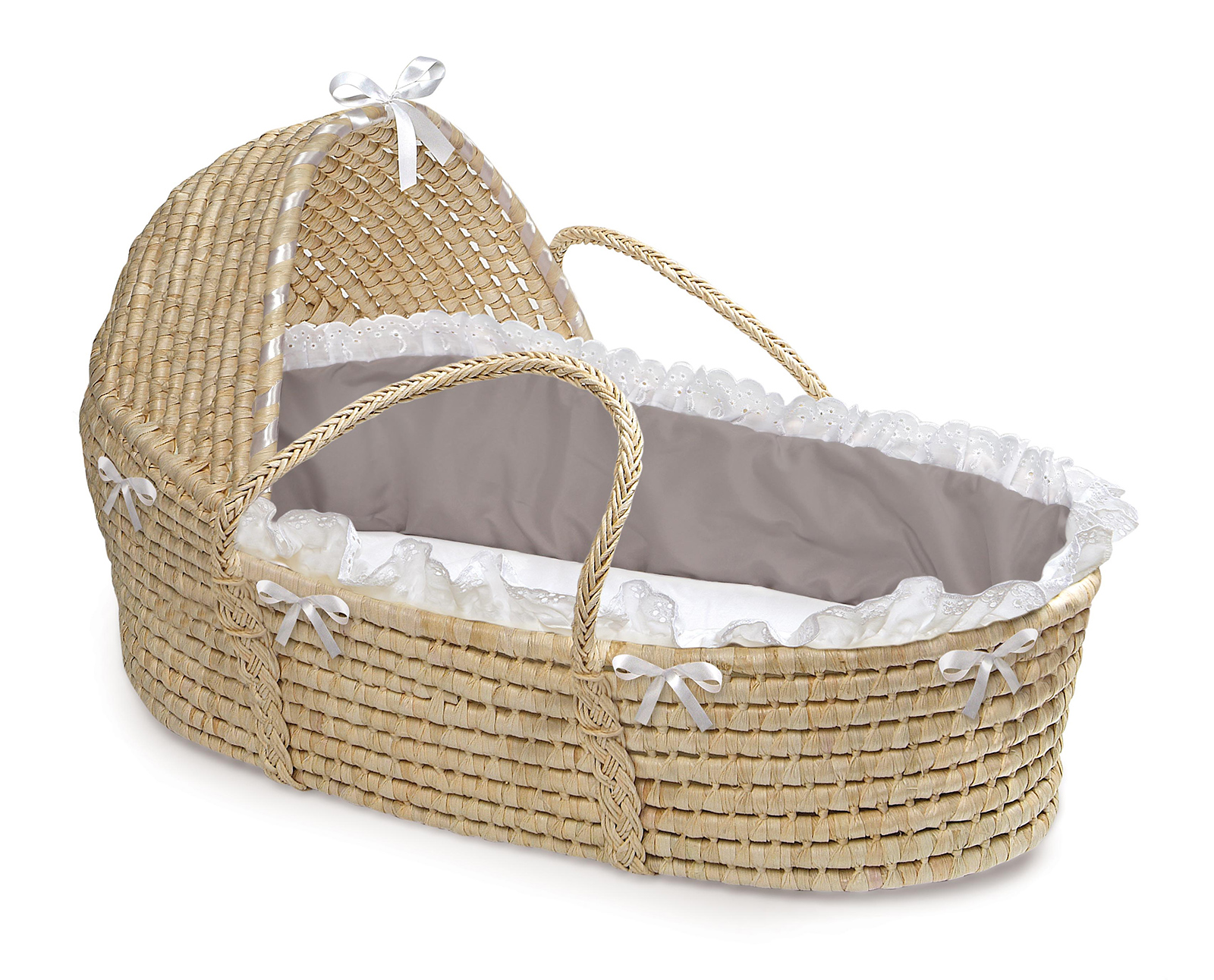 Badger Basket Natural Hooded Moses Basket Gray White