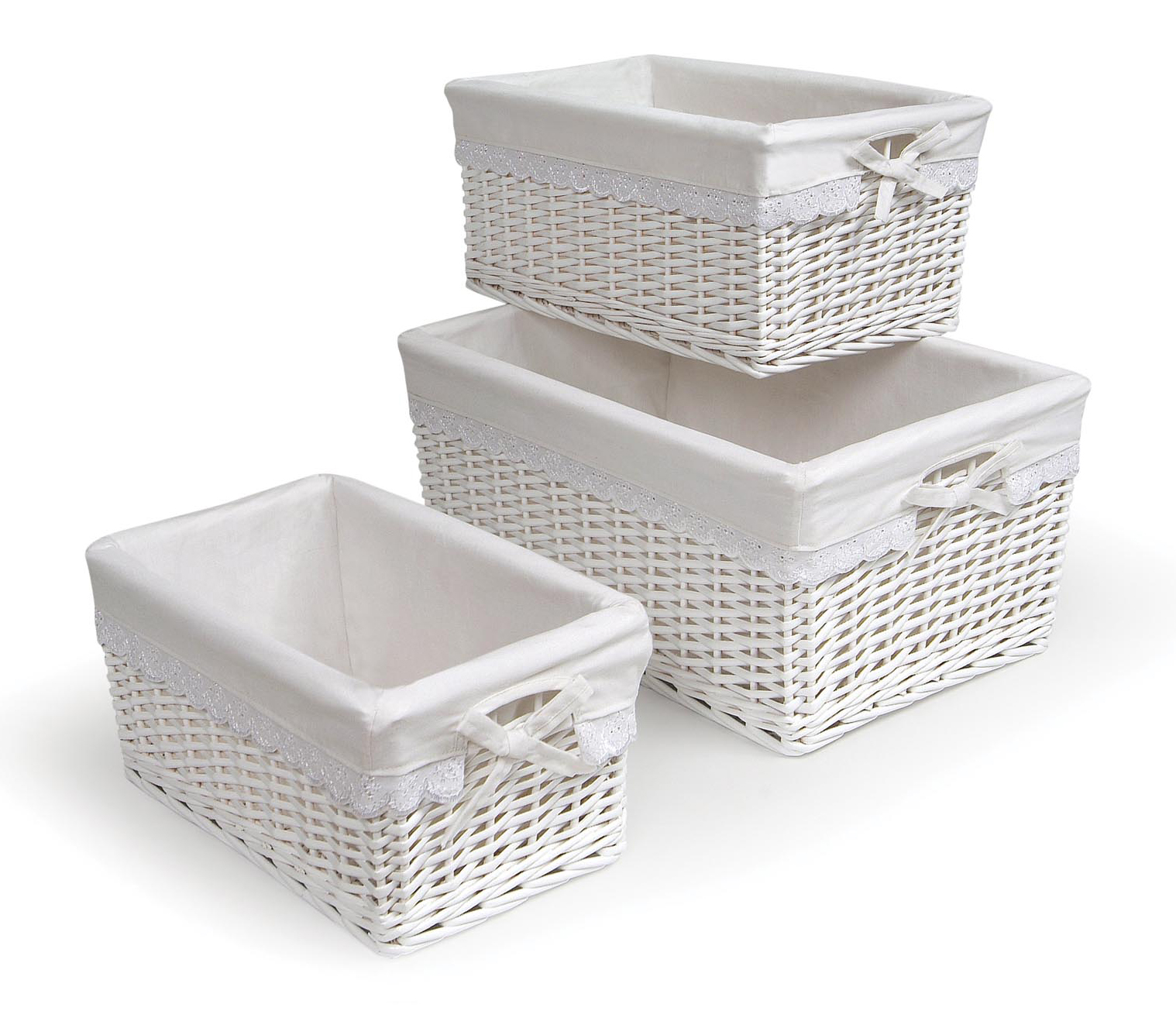White Hamper With Liner Badger Basket Set Of Three Wicker Nursery Baskets With