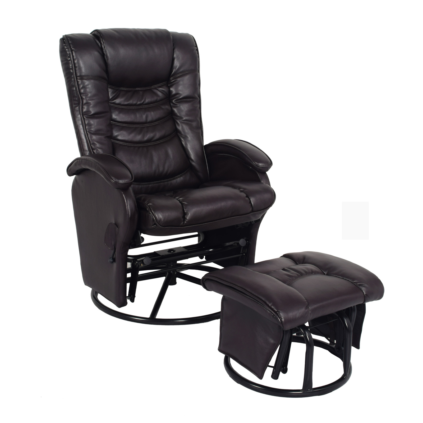 Leather Recliner Chair With Ottoman Essential Home Glider Recliner Chair Ottoman