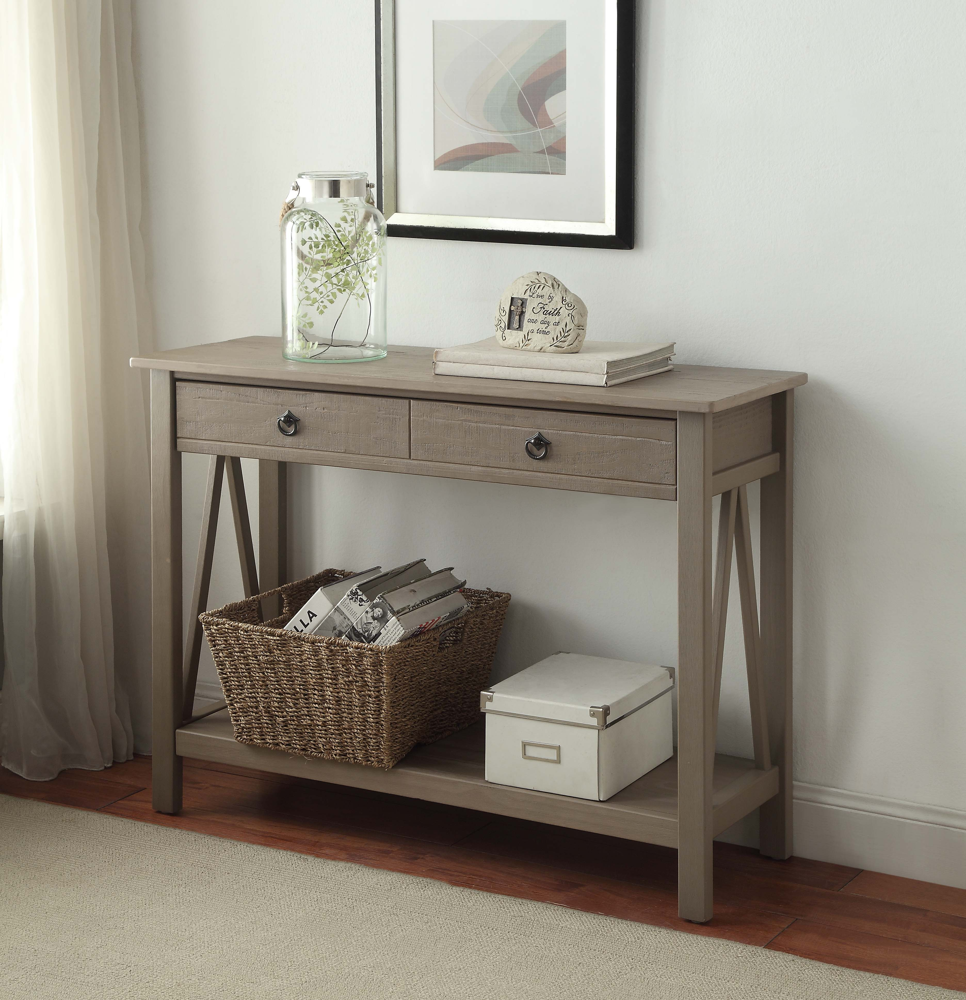 Table Consoles Linon Titian Rustic Gray Console Table