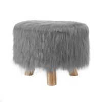 Linon Frost Gray Faux Fur Stool - Home - Furniture ...