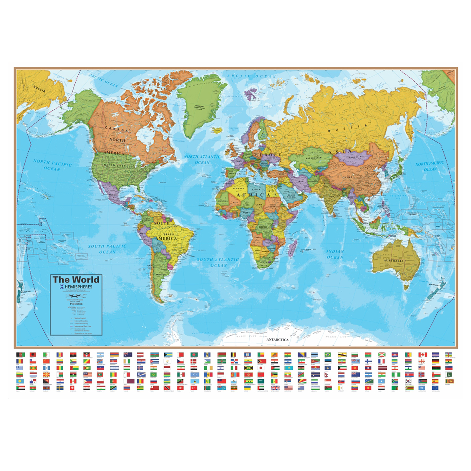 Kmart World Map Round World Hemispheres Blue Ocean Series World Wall Map