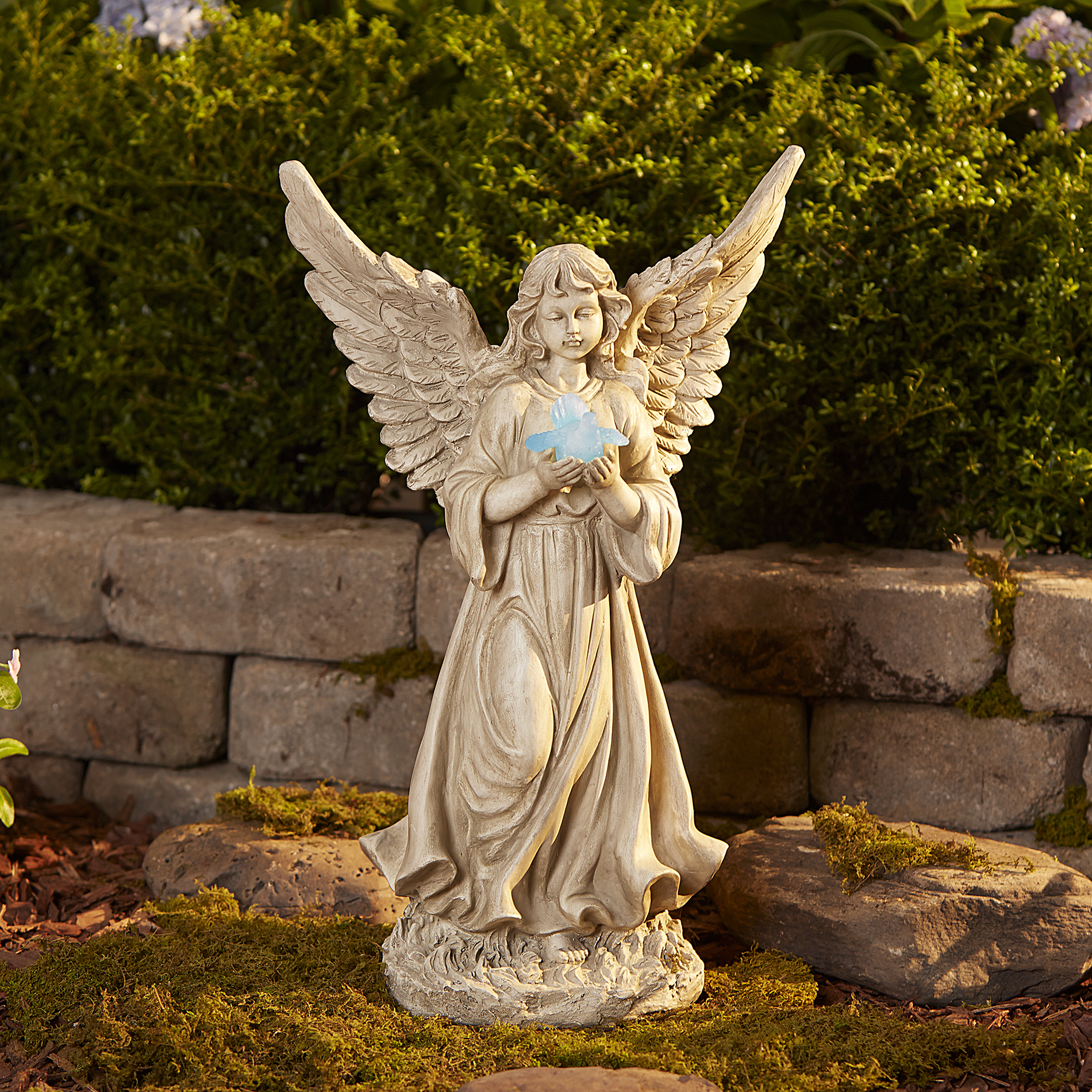 Garden Angel Large Angel With Solar Bird