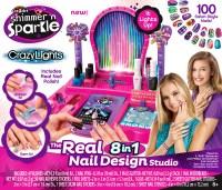 Shimmer 'n Sparkle 8-in-1 Nail Design Studio Salon Kit Toy ...
