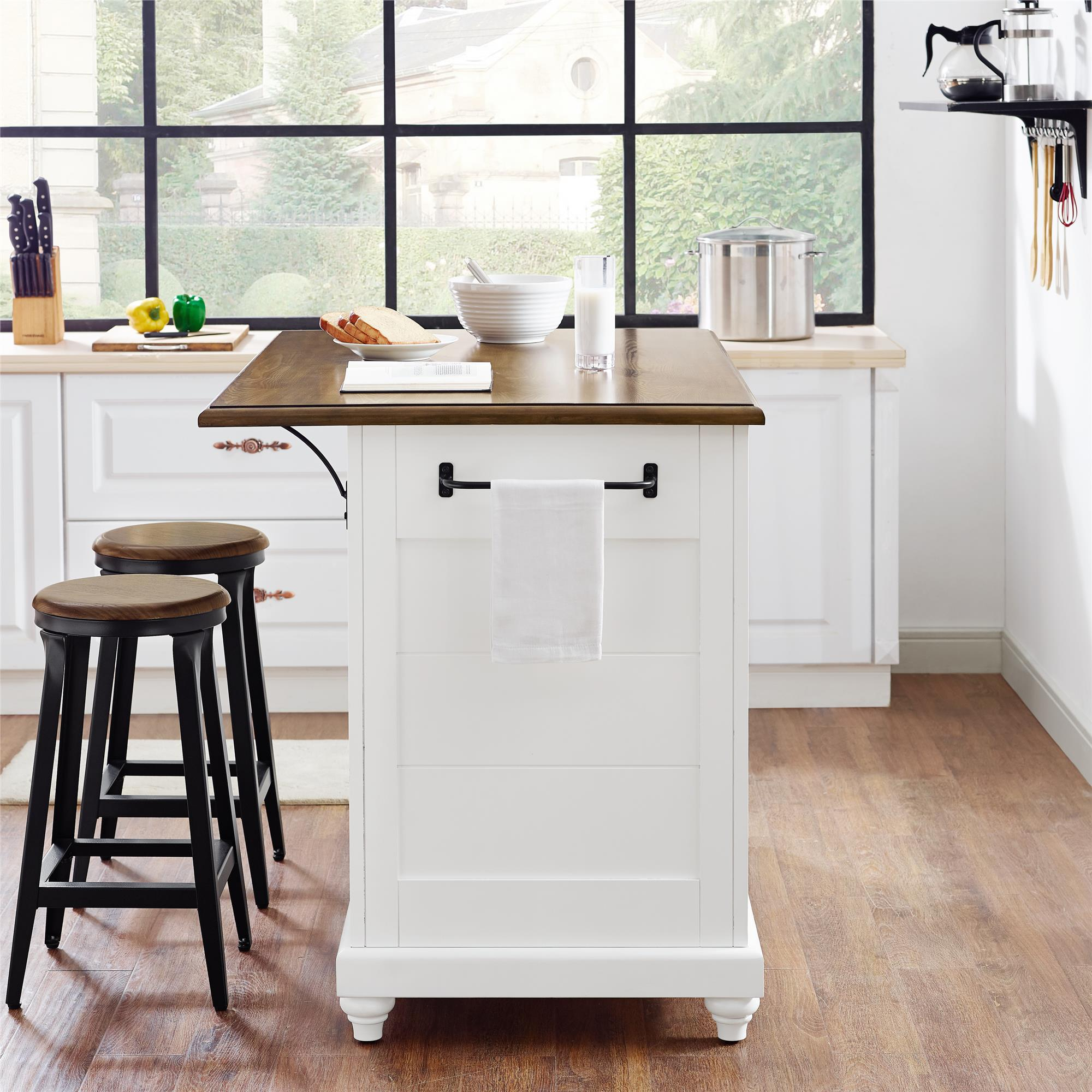 Stools Kitchen Islands Dorel Home Furnishings Kelsey White Kitchen Island With 2