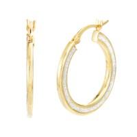Gold over Silver Glitter Flat Hoop Earrings - Jewelry ...