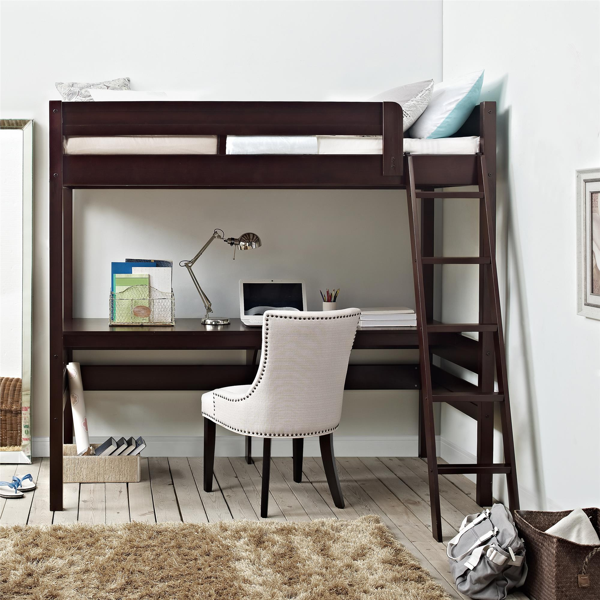 Double Bunk Bed With Desk Dorel Harlan Espresso Loft Bed With Desk