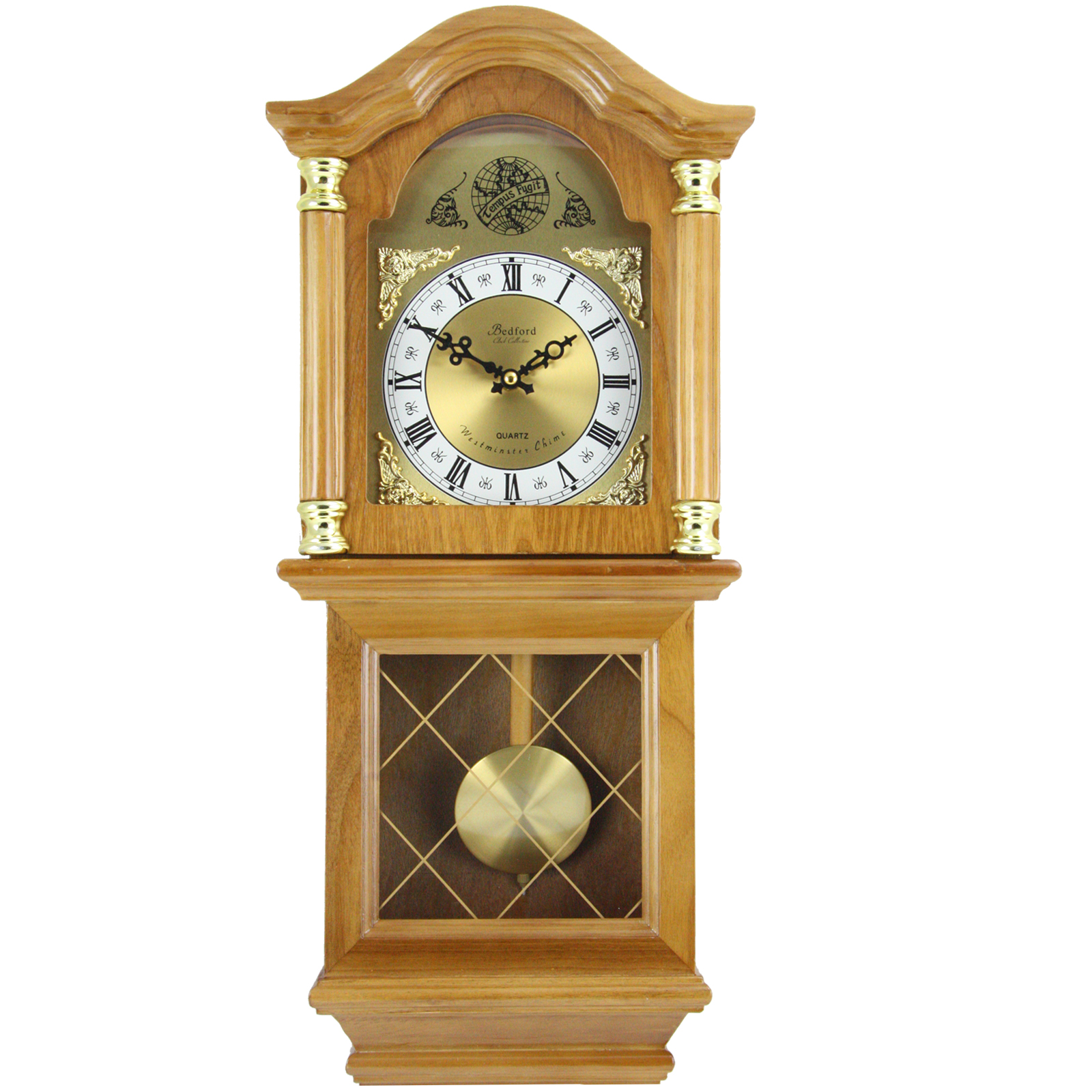 Classical Wall Clocks Bedford Clock Collection Classic 26 Quot Golden Oak Chiming