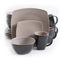 Gibson Soho Lounge Matte 16 Piece Dinnerware Set - Taupe