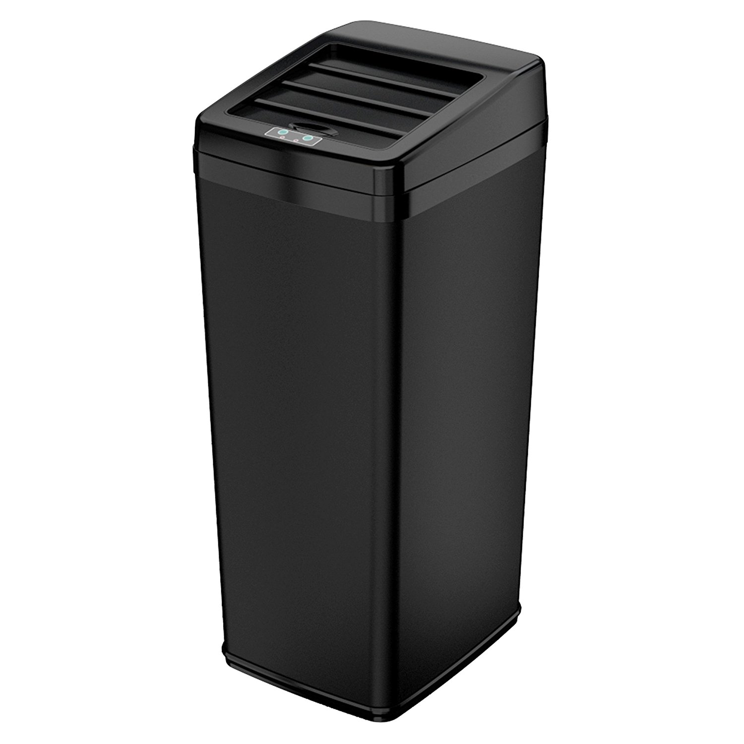 Black Metal Trash Can Itouchless 14 Gallon Black Steel Automatic Sensor