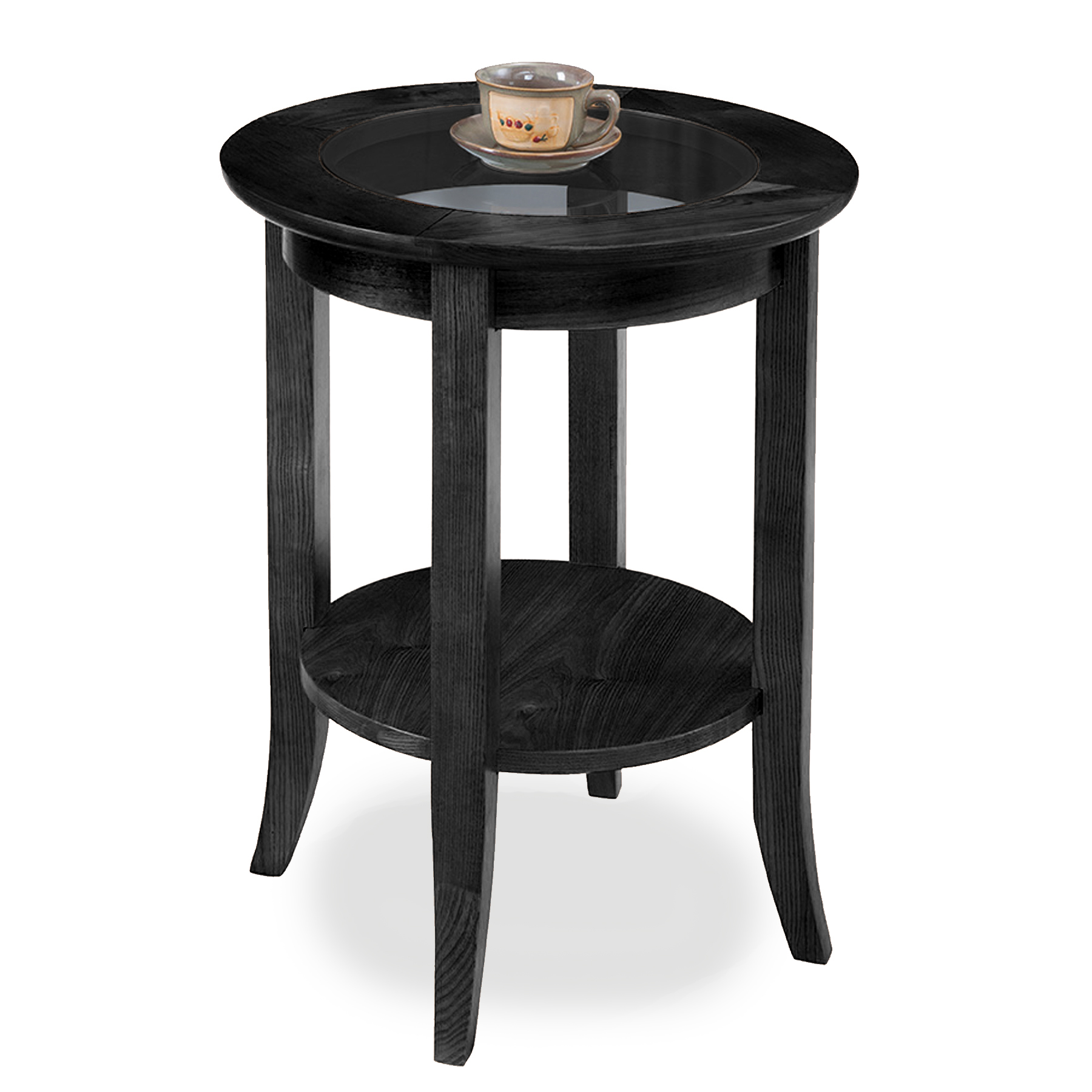 Round Glass Top End Tables Leick Slate Glass Top Round Side Table