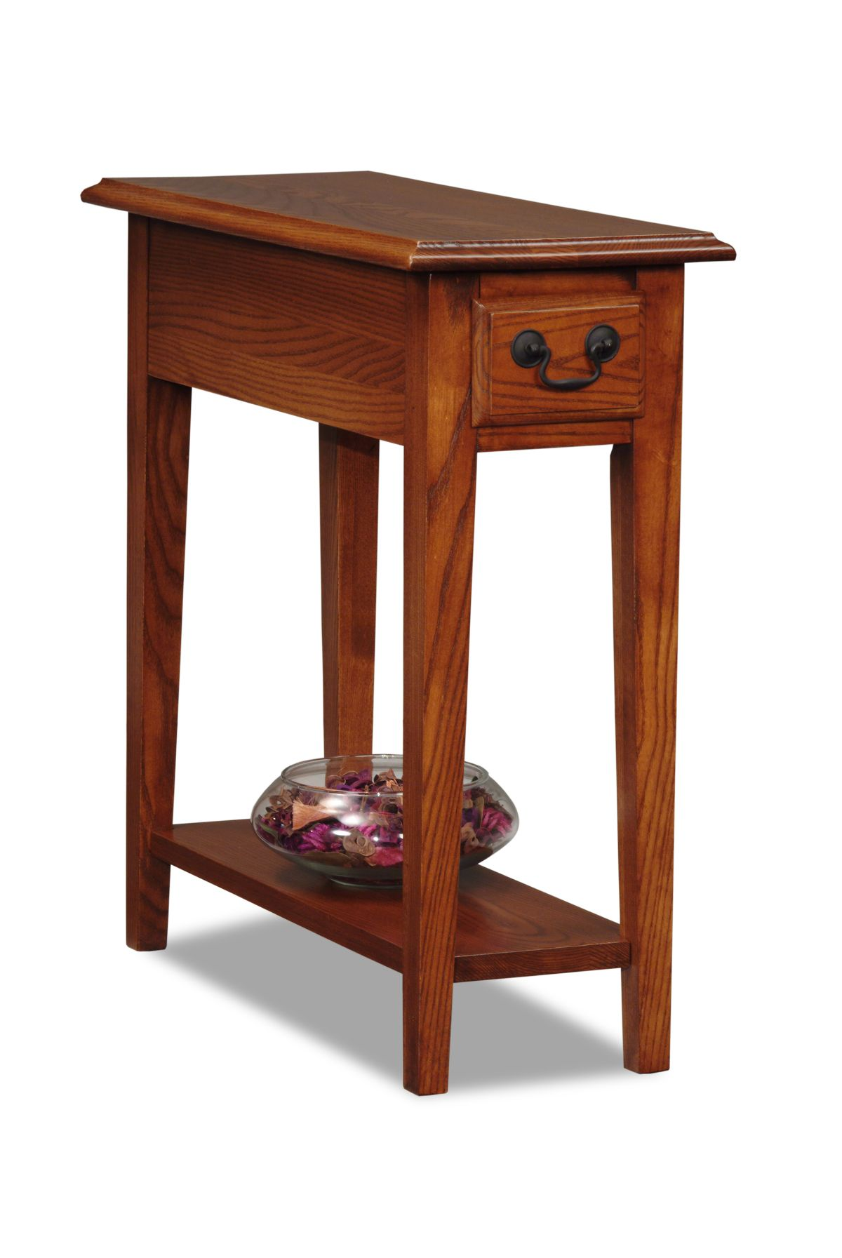 Narrow Corner Table Leick Chairside Small End Table Medium Finish
