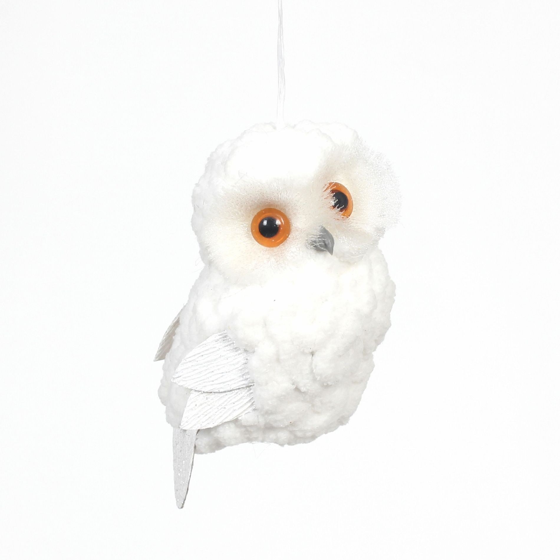 Stuff Owl Donner And Blitzen White Downy Plush Owl Ornament