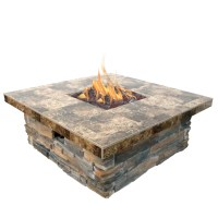 Cal Flame 48 in. Natural Stone Propane Gas Fire Pit in ...