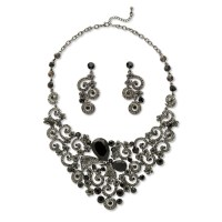 PalmBeach Jewelry Black and Grey Lucite and Crystal Scroll ...