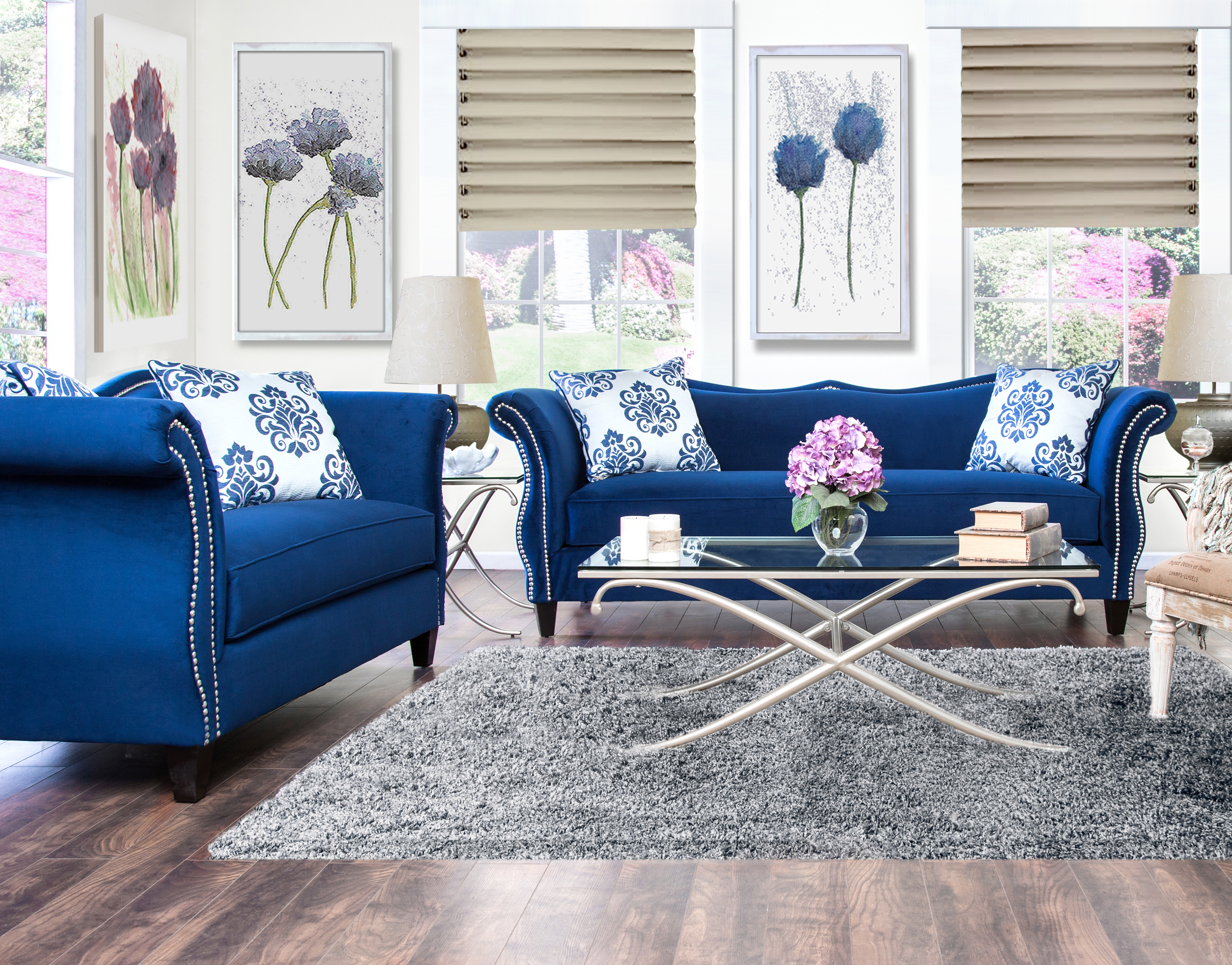 Sofa Set Color Blue Furniture Of America Royal Blue Anita 2 Piece Sweetheart
