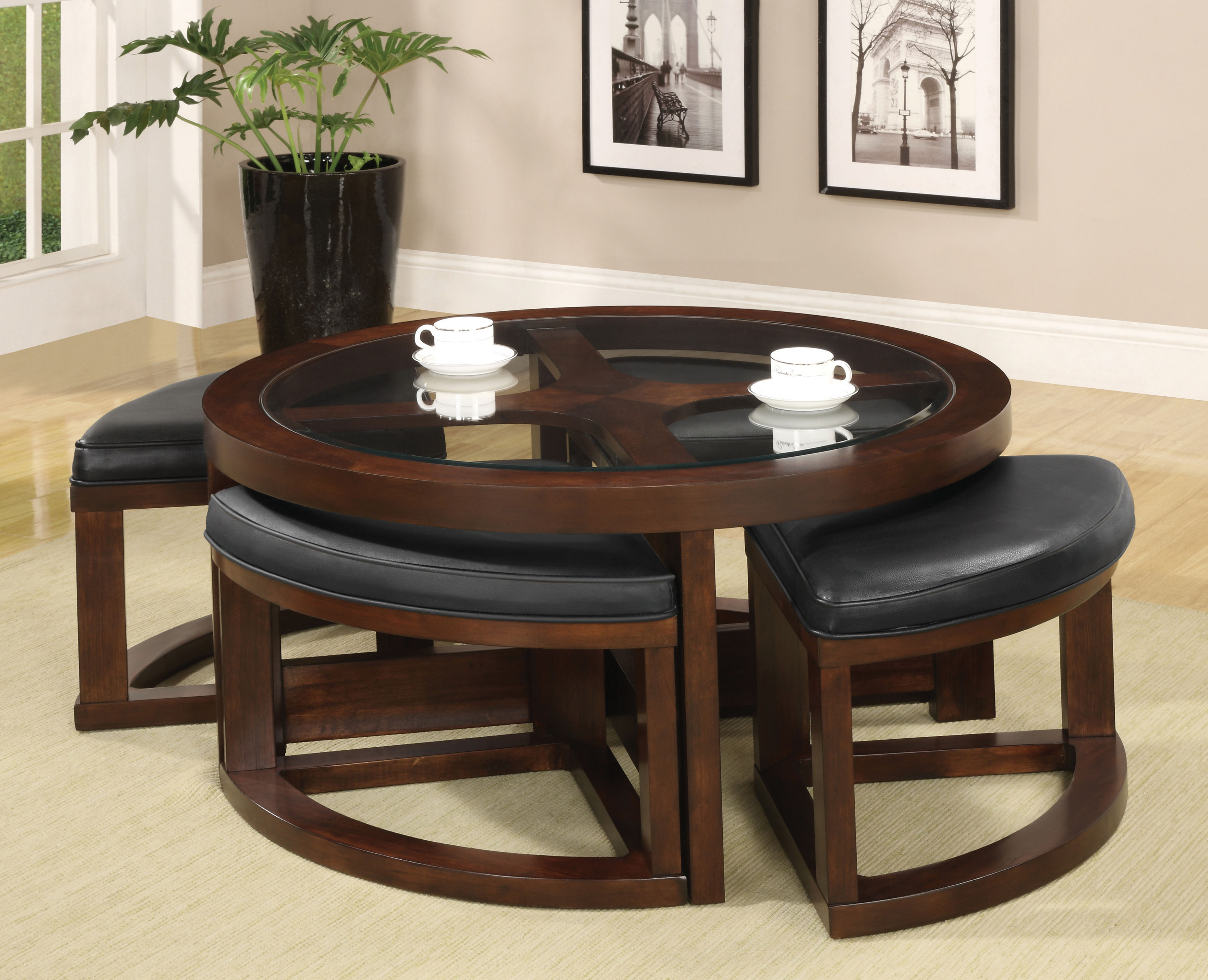 Coffee Table Ottomans Underneath Furniture Of America Dark Walnut Drea Coffee Table With
