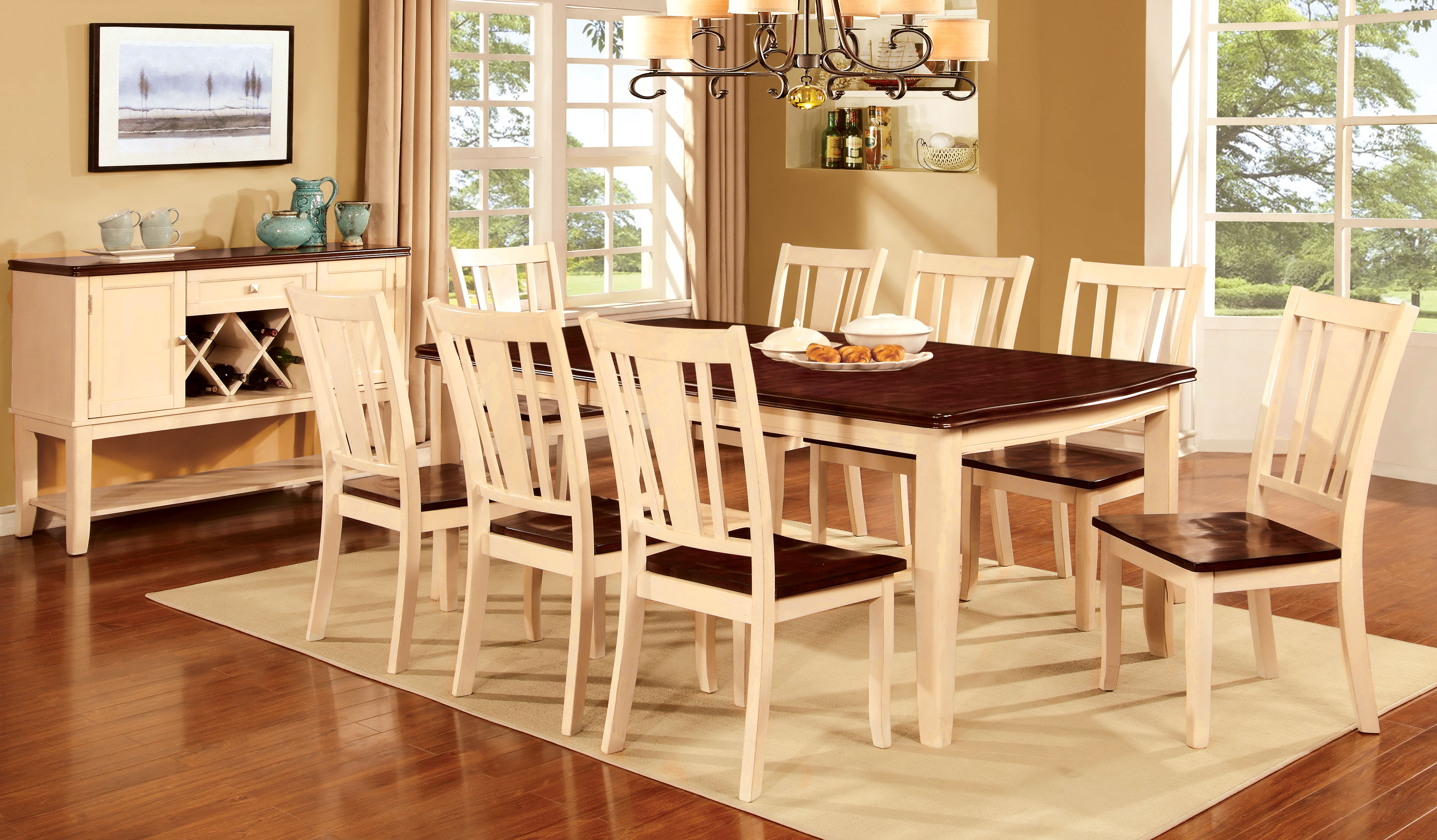 p P two tone kitchen table Furniture of America Two Tone Carmen Expandable Dining Table Home Furniture Dining Kitchen Furniture Dining Tables