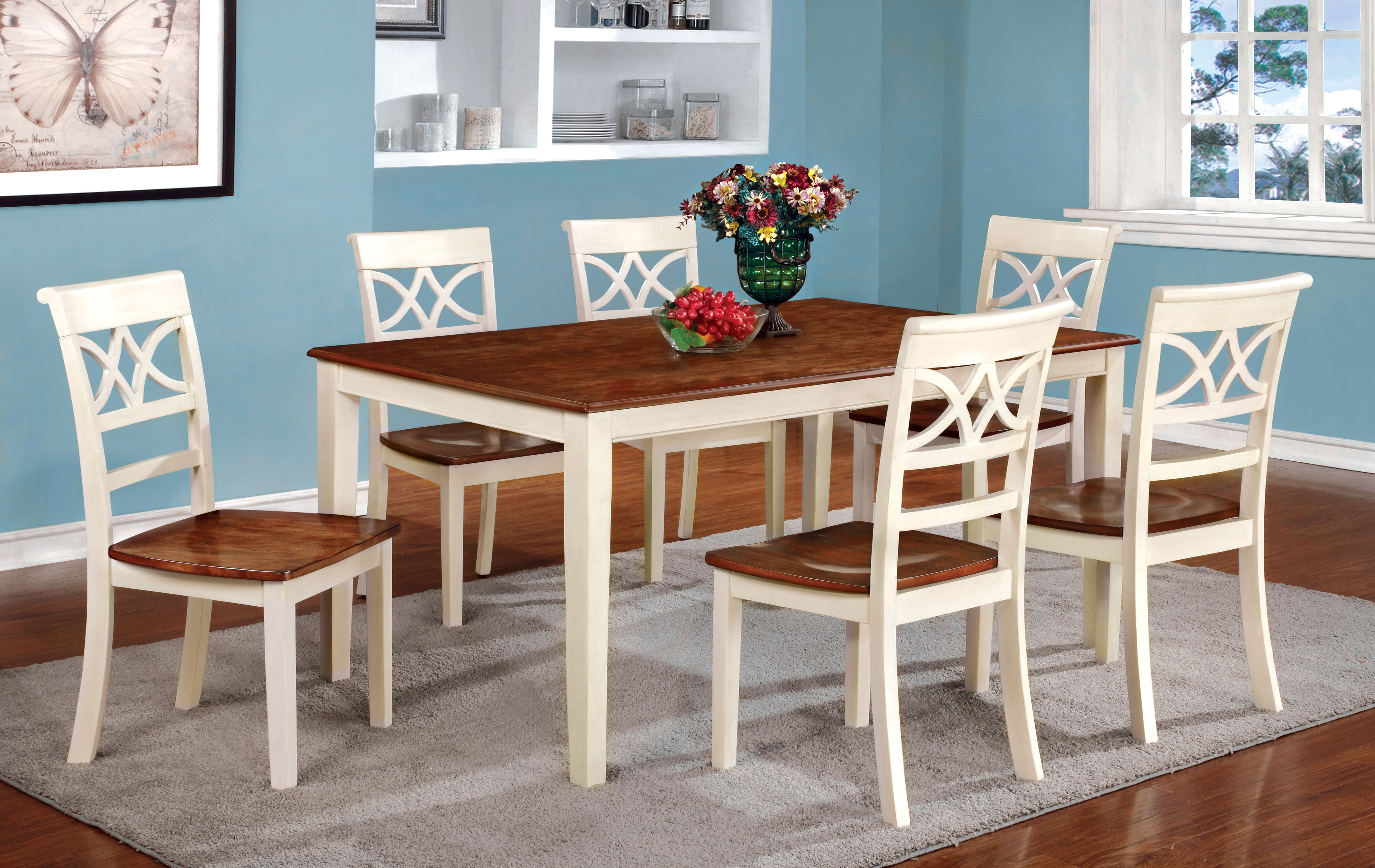 Standard Kitchen Table Top Height Furniture Of America Two-tone Adelle Country Style Dining