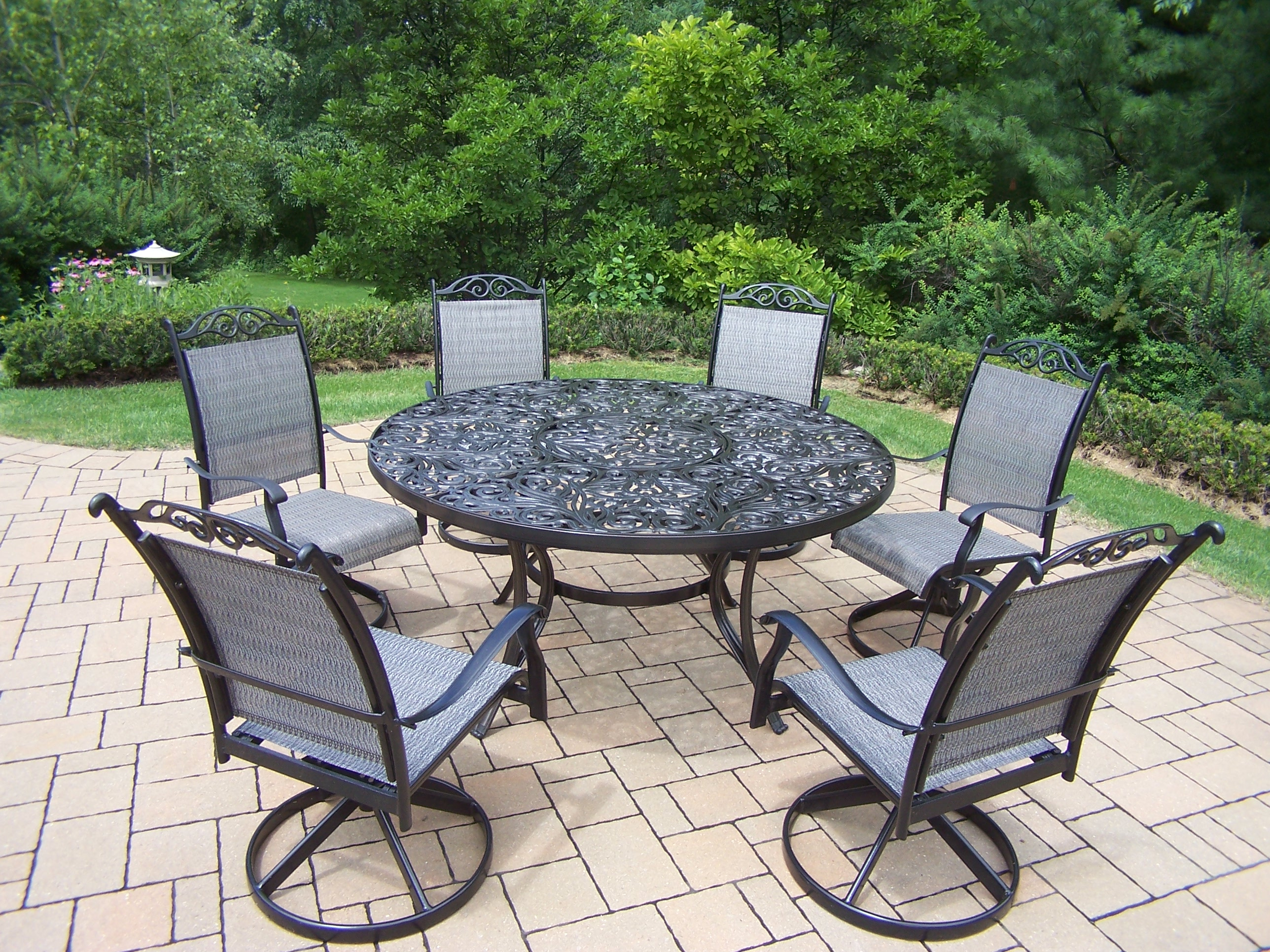 7 Piece Round Patio Dining Set Oakland Living Aluminum 7 Pc Patio Dining Set W 60