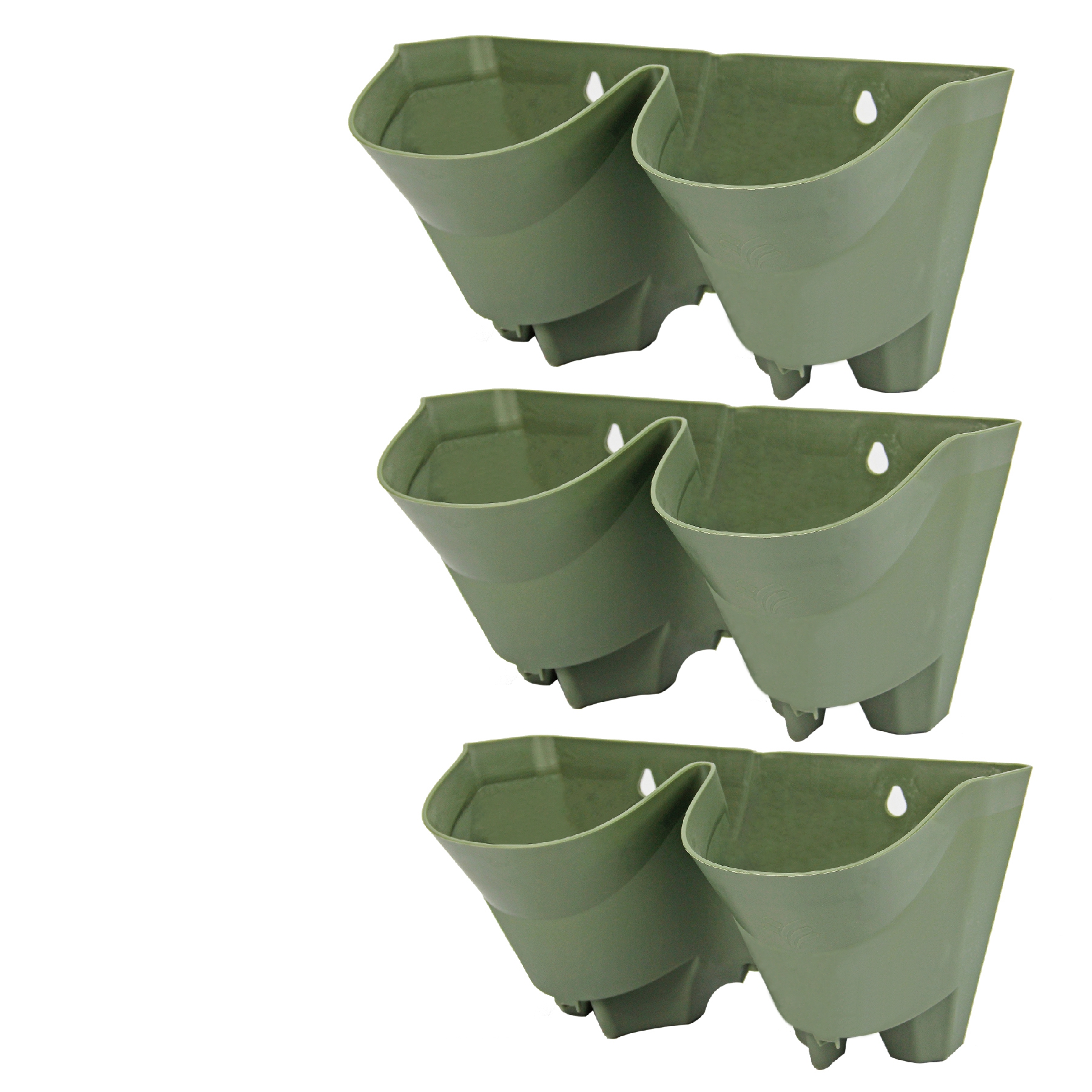 Self Watering Outdoor Planters Worth Garden 3 Pack 2 Pockets Olive Green Plastic Self