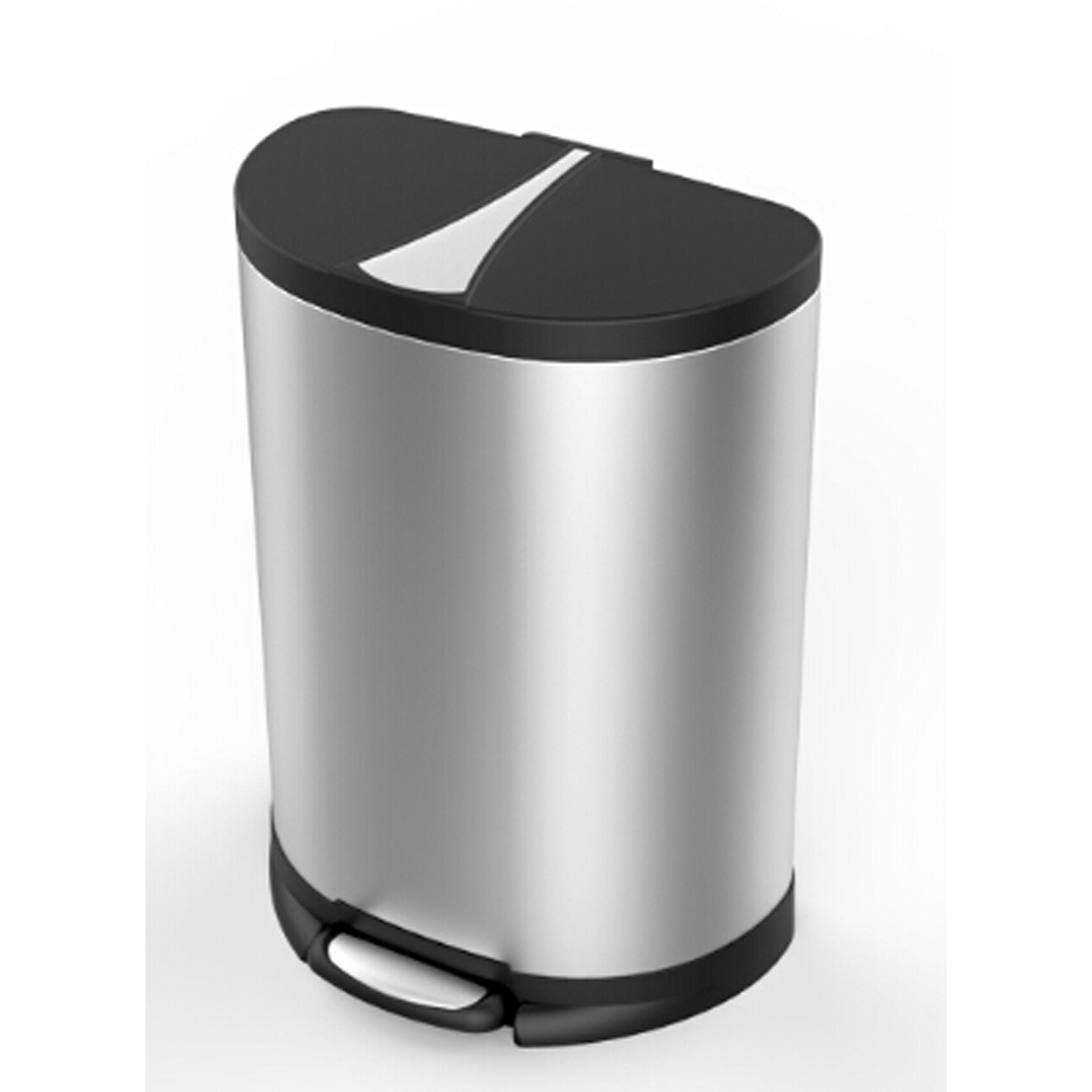 Small Kitchen Trash Cans Essential Home 50 Liter Semi Round Stainless Steel Trash Can