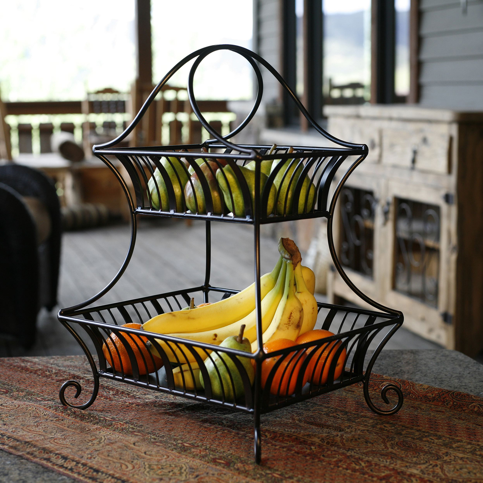 Table Top Fruit Basket 2 Tier Wrought Iron Wire Basket Storage Fruit Rack Holder
