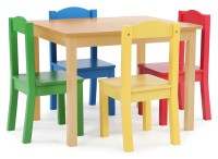Tot Tutors Kids Wood Table and 4 Chairs Set, Natural