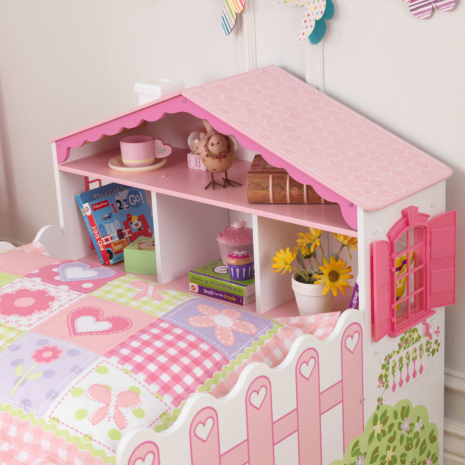 Toddler Dollhouse Kidkraft 76254 Dollhouse Toddler Bed With Shelves Sears