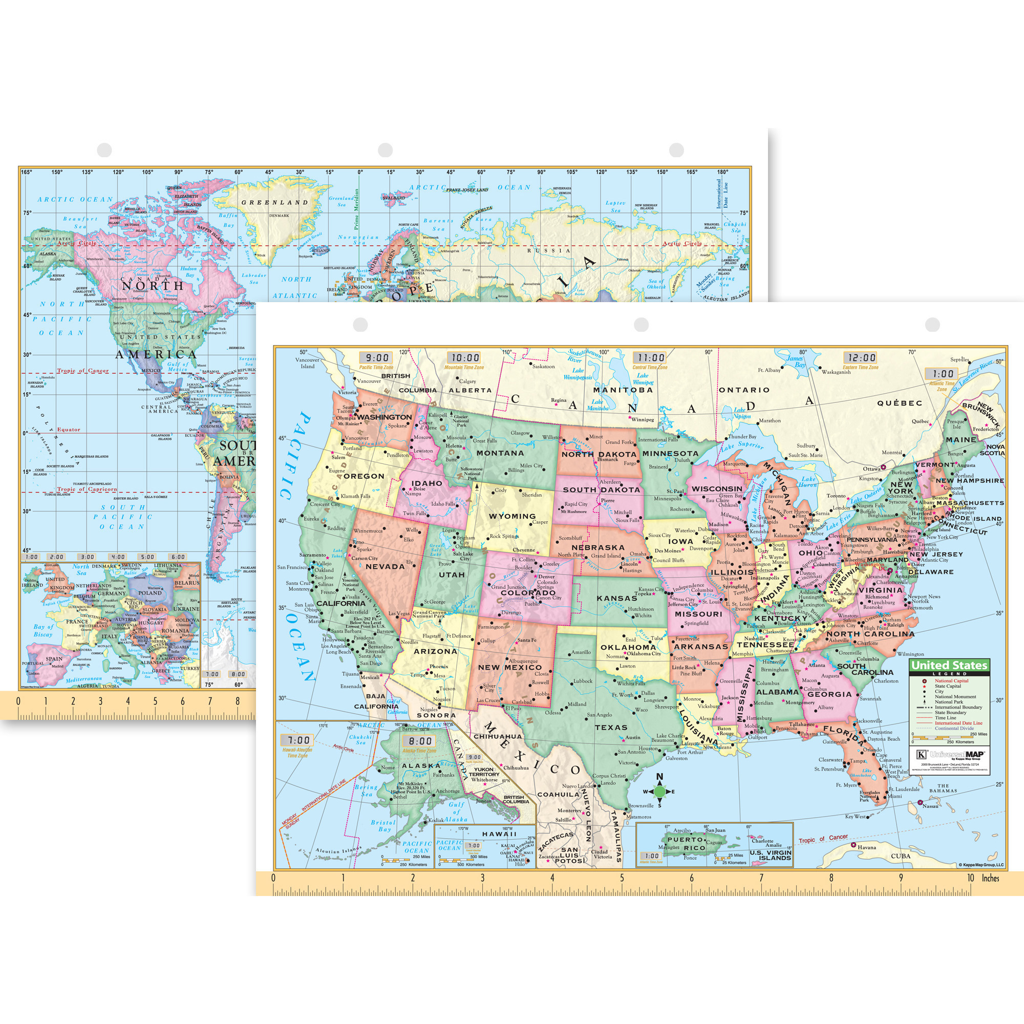 Kmart World Map Kappa Map Group Us And World Notebook Map 8 1 2 Quot X 11 Quot Set