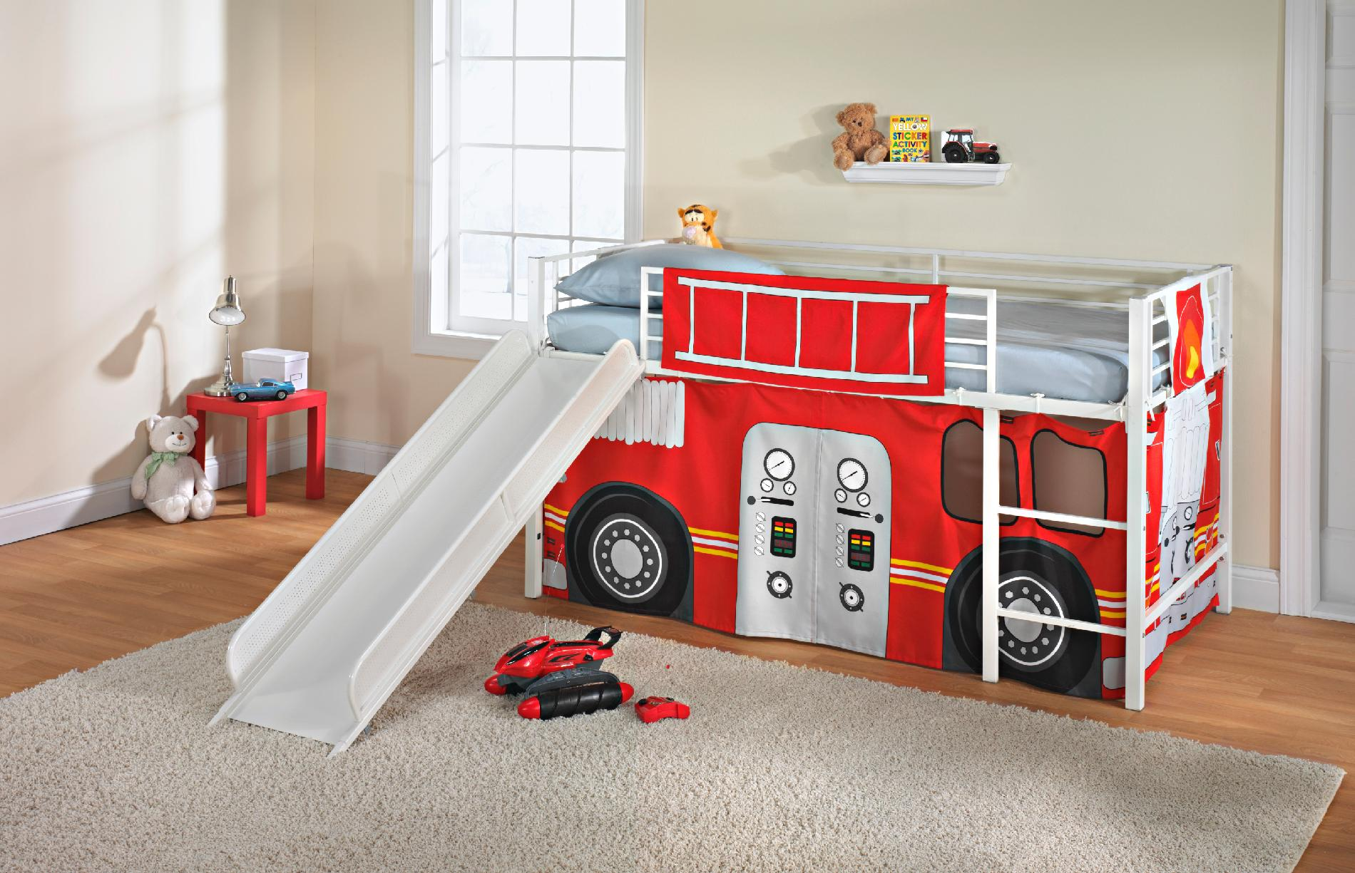Unique Beds For Boys Fire Truck Curtain Set Twin Bunk Loft Bed Kids Bedroom