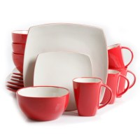 Gibson Home Soho Lounge 16-Piece Dinnerware Set White and Red