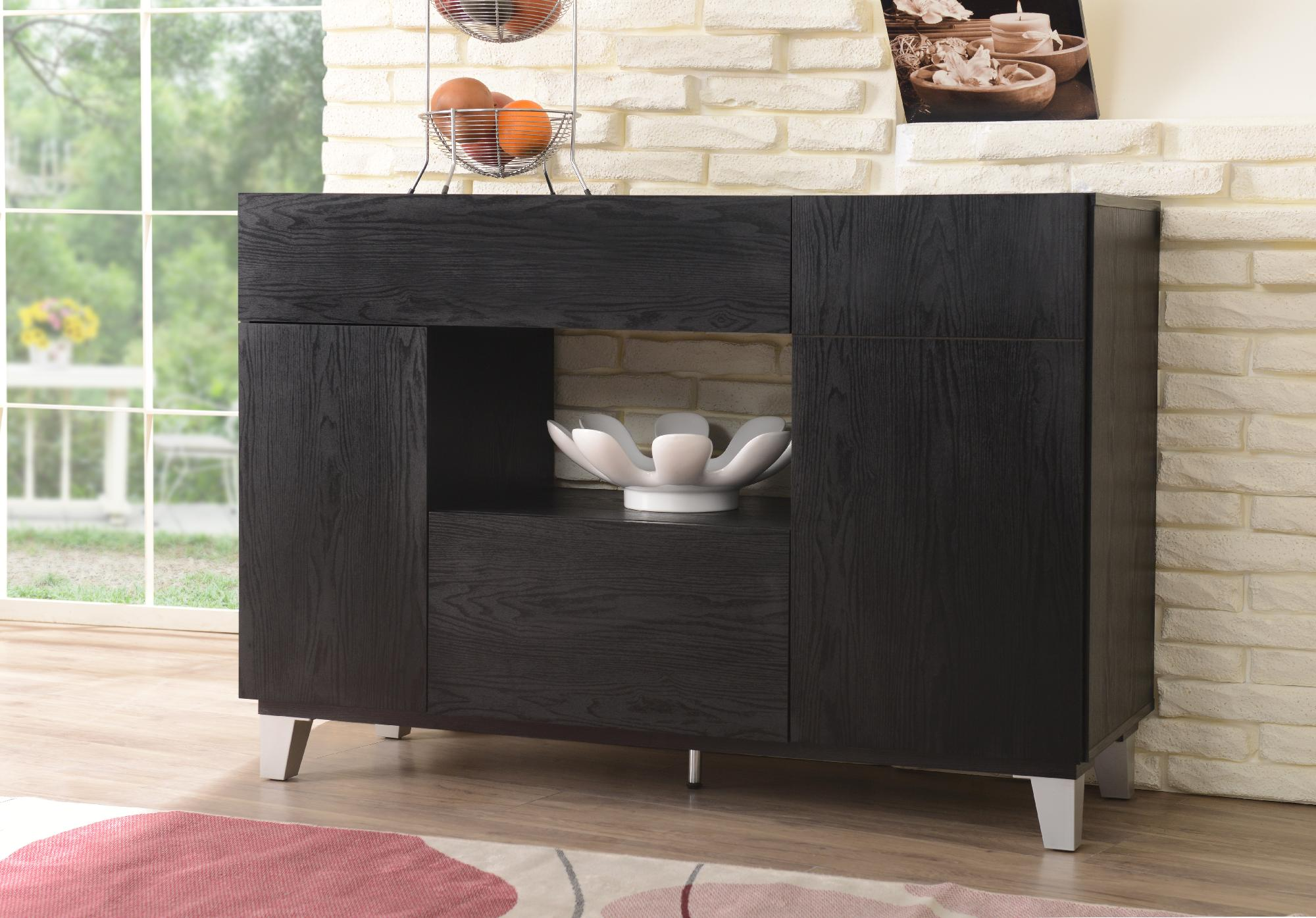 Moderner Buffetschrank Furniture Of America Lily Black Finish Dining Storage Buffet