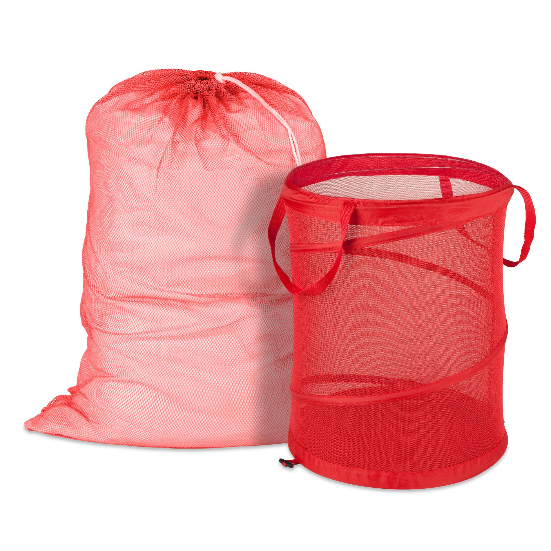 Carry Laundry Bag Honey Can Do Red Mesh Laundry Bag And Hamper Kit Home