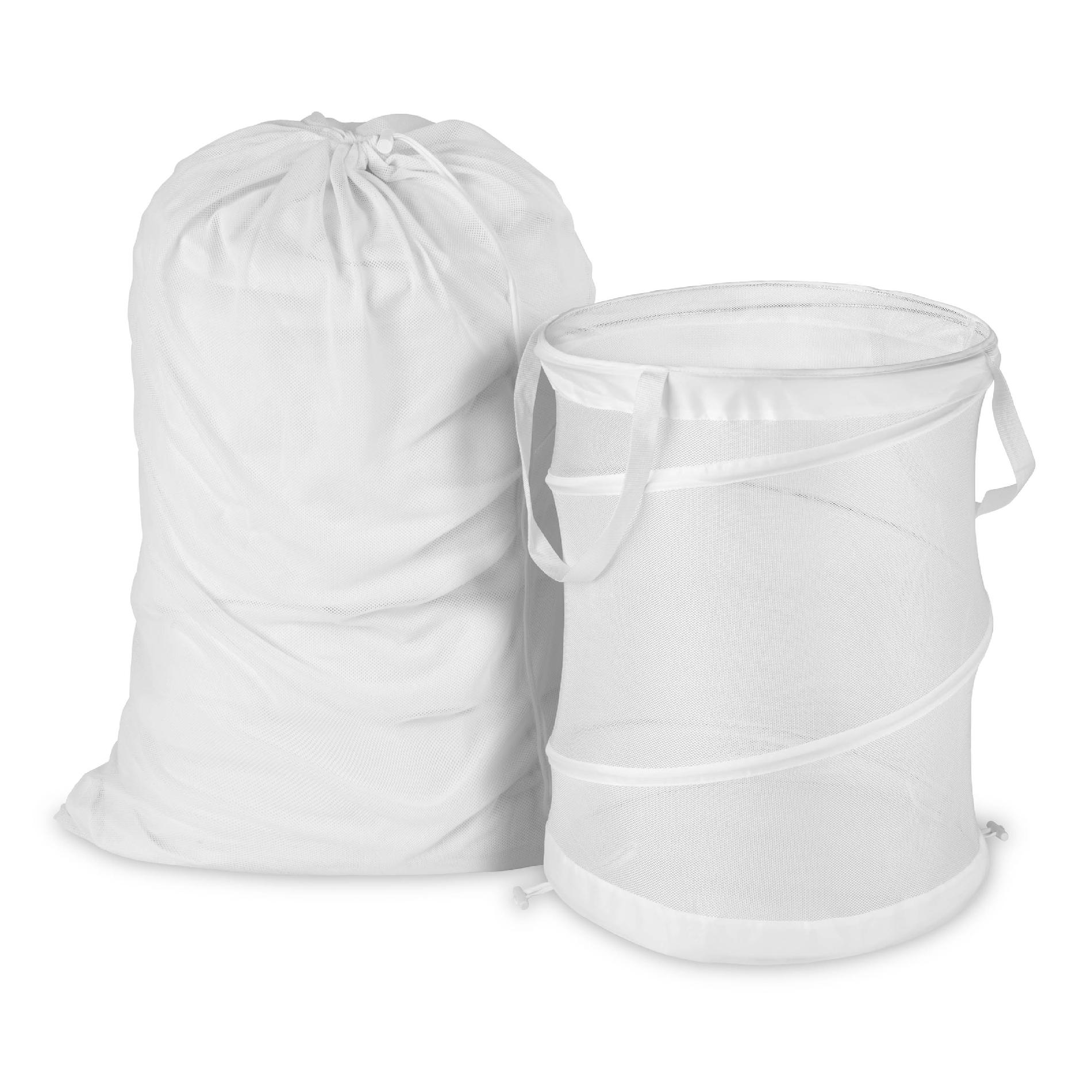 Laundry Clothes Bag Honey Can Do White Mesh Laundry Bag And Hamper Kit Home