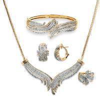 Women's 3 Cttw. Gold Over Brass Diamond Necklace Bracelet ...
