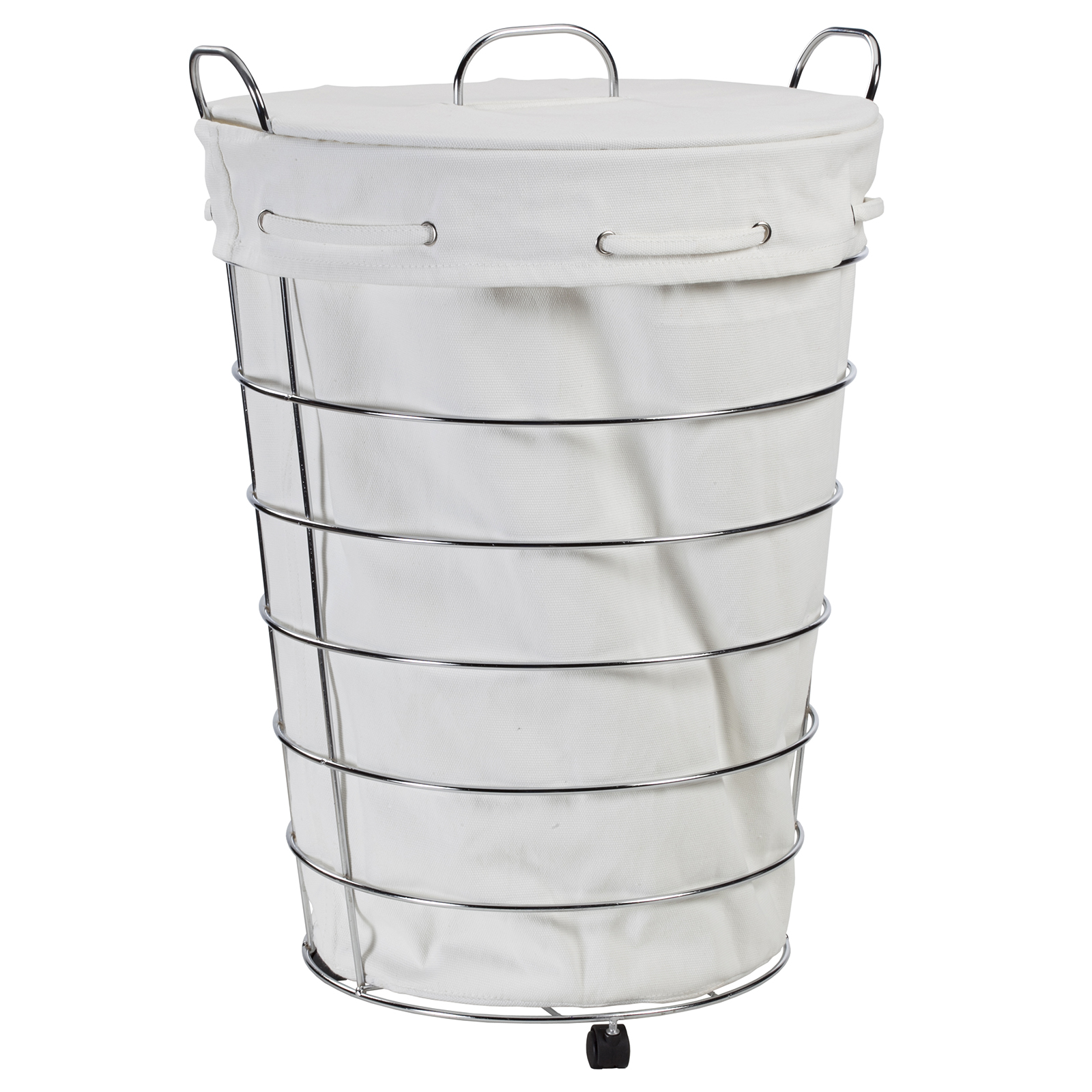 Chrome Laundry Basket Creative Ware Home Aspen Rolling Hamper With Lid And Liner