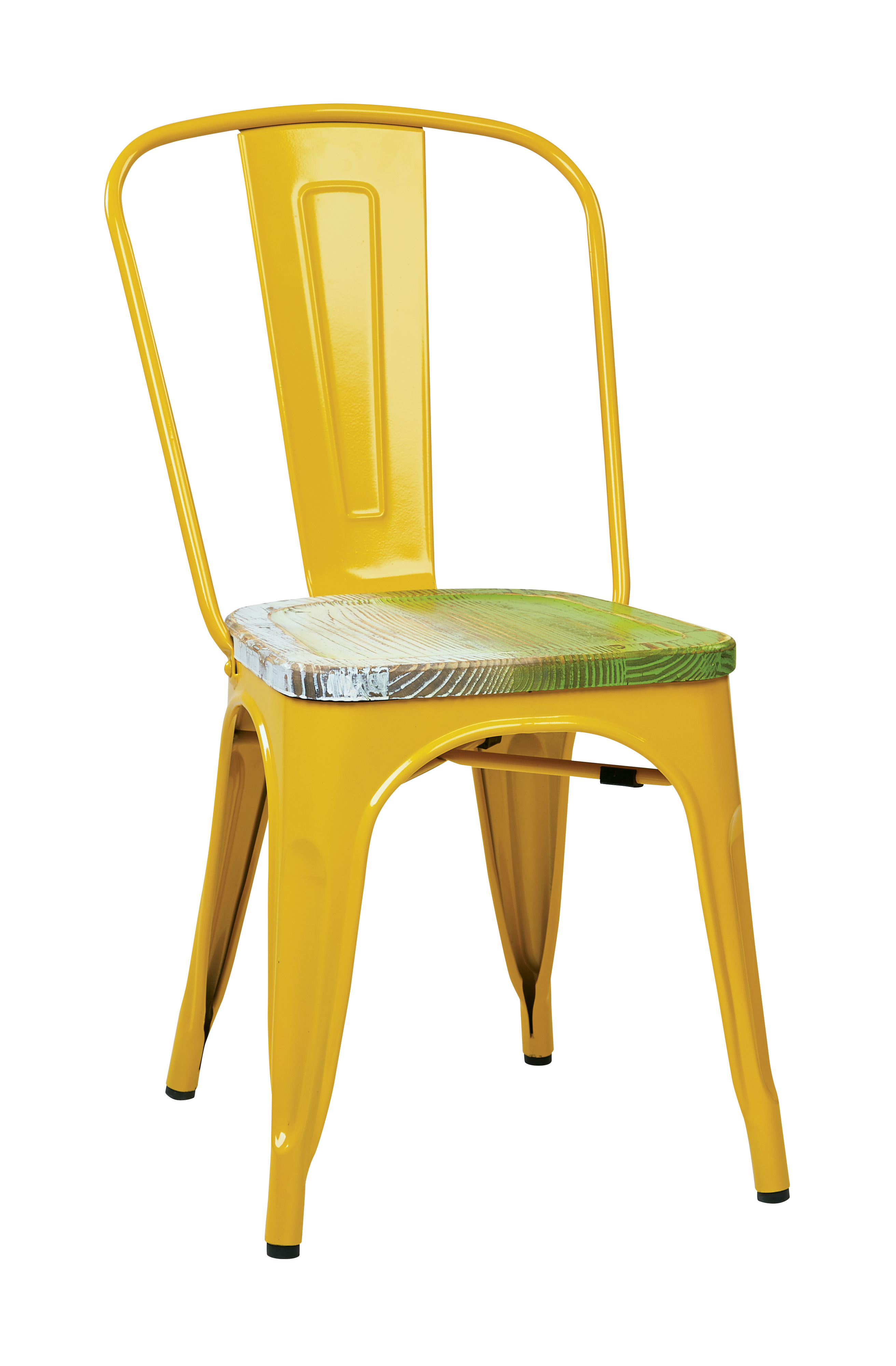 Osp designs bristow metal chair with vintage wood seat yellow finish frame pine alice finish seat 2 pack