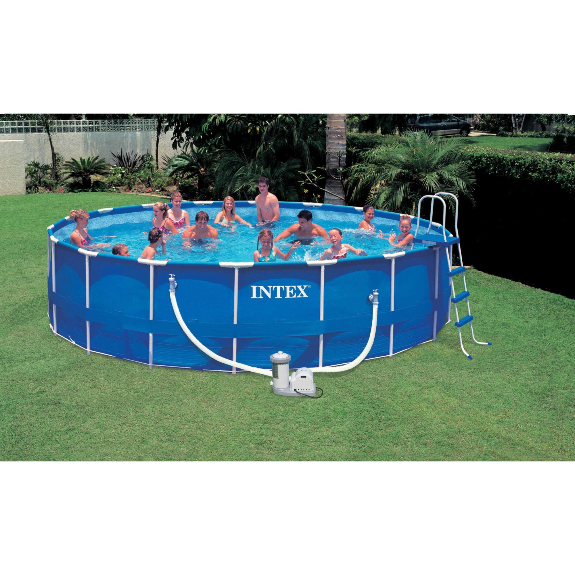 Intex Piscinas Acessorios Intex 18 39 X 48 Quot Round Metal Frame Pool Package Sears