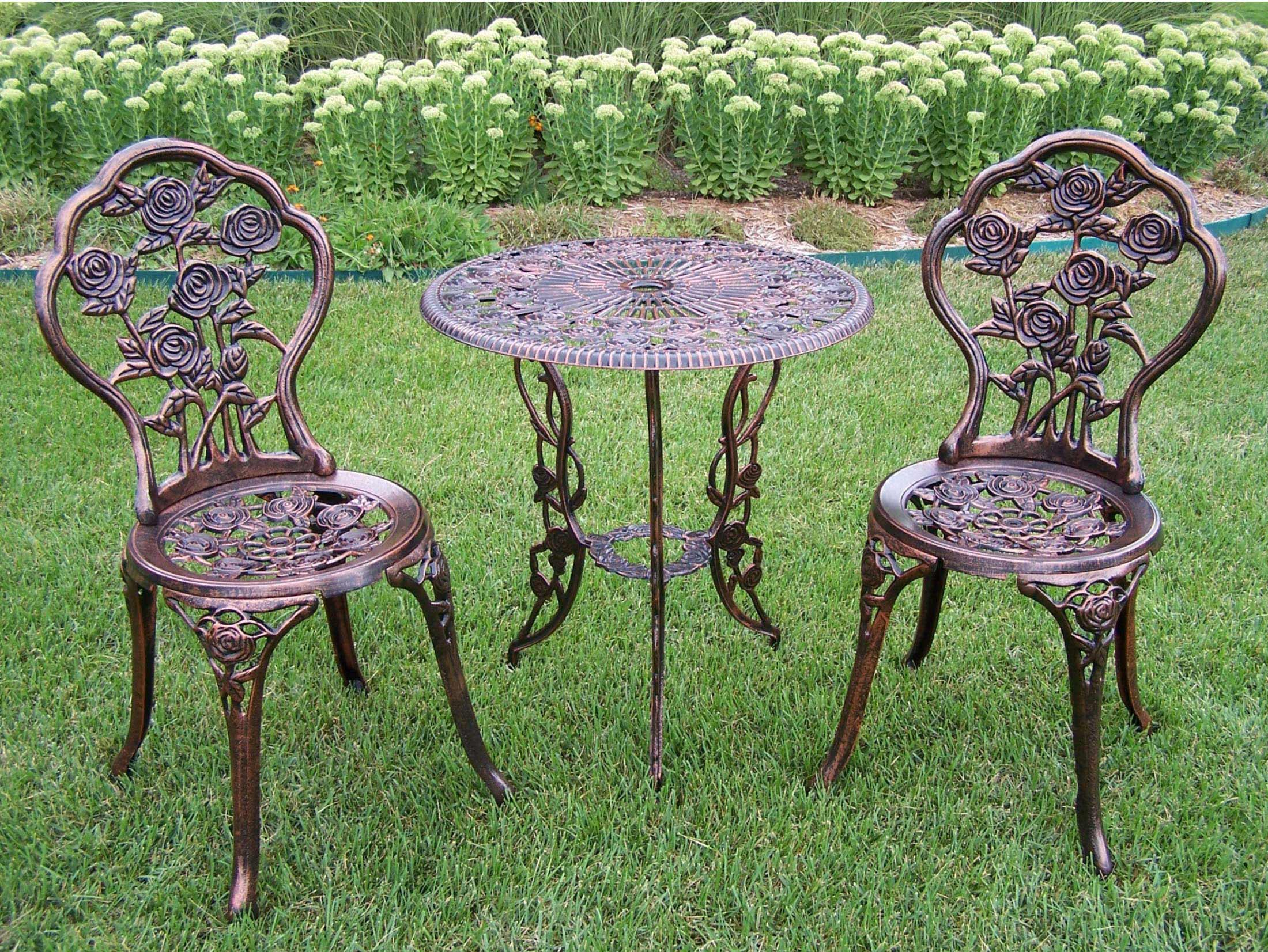 Wrought Iron 3 Piece Outdoor Setting Oakland Living Rose 3pc Patio Bistro Set With Cast